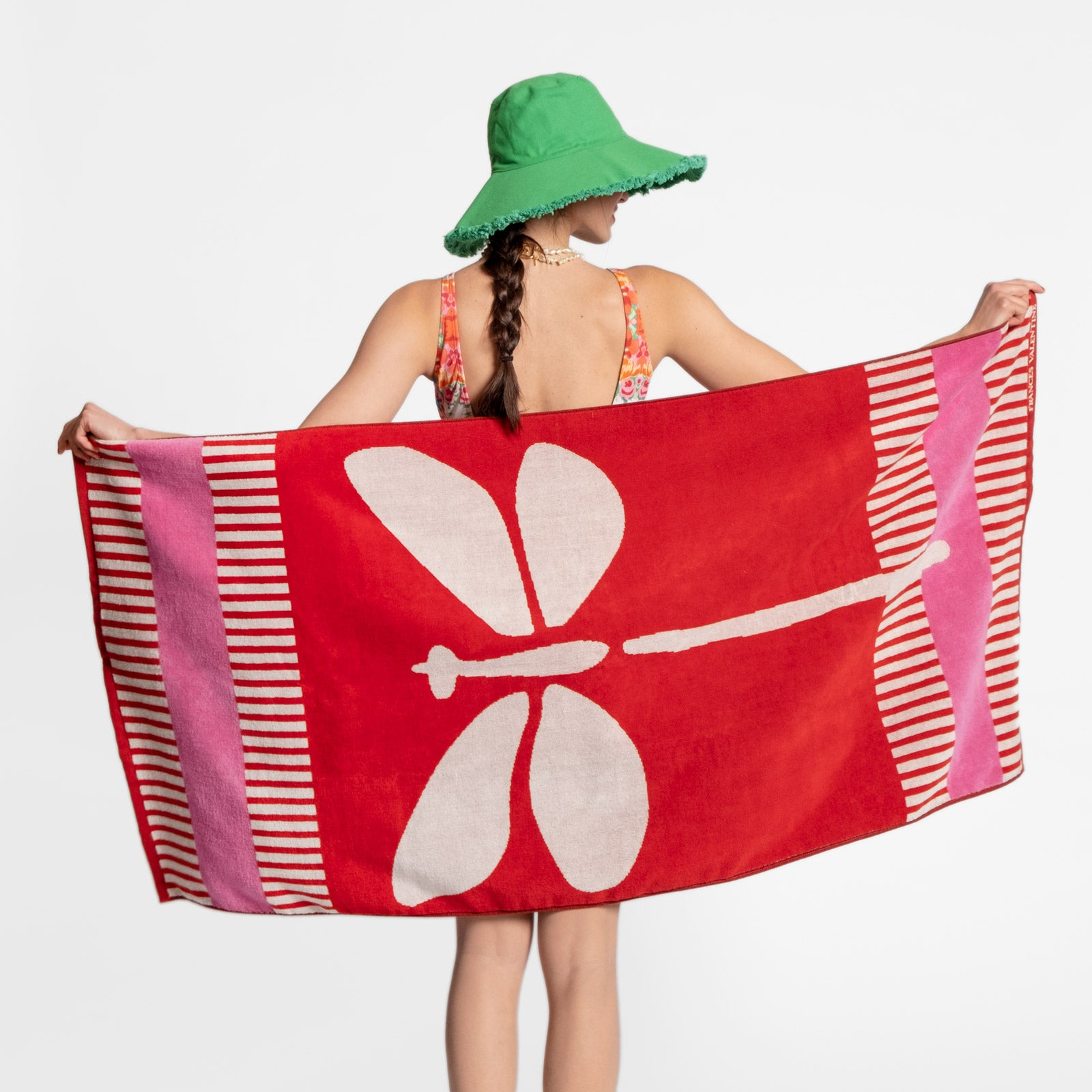 Dragonfly Beach Towel Red Pink