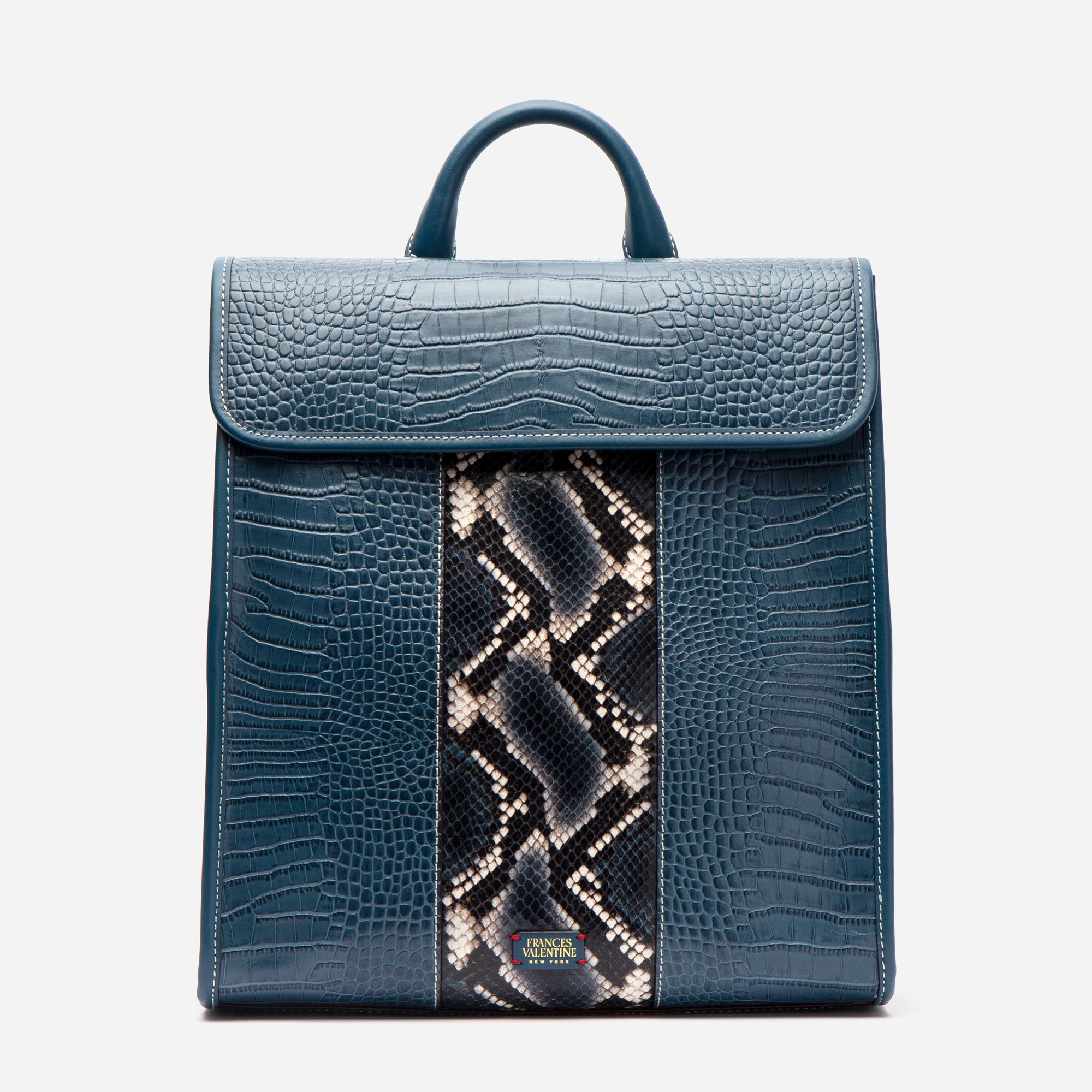 Trey Croc Embossed Racing Stripe Backpack Blue - Frances Valentine