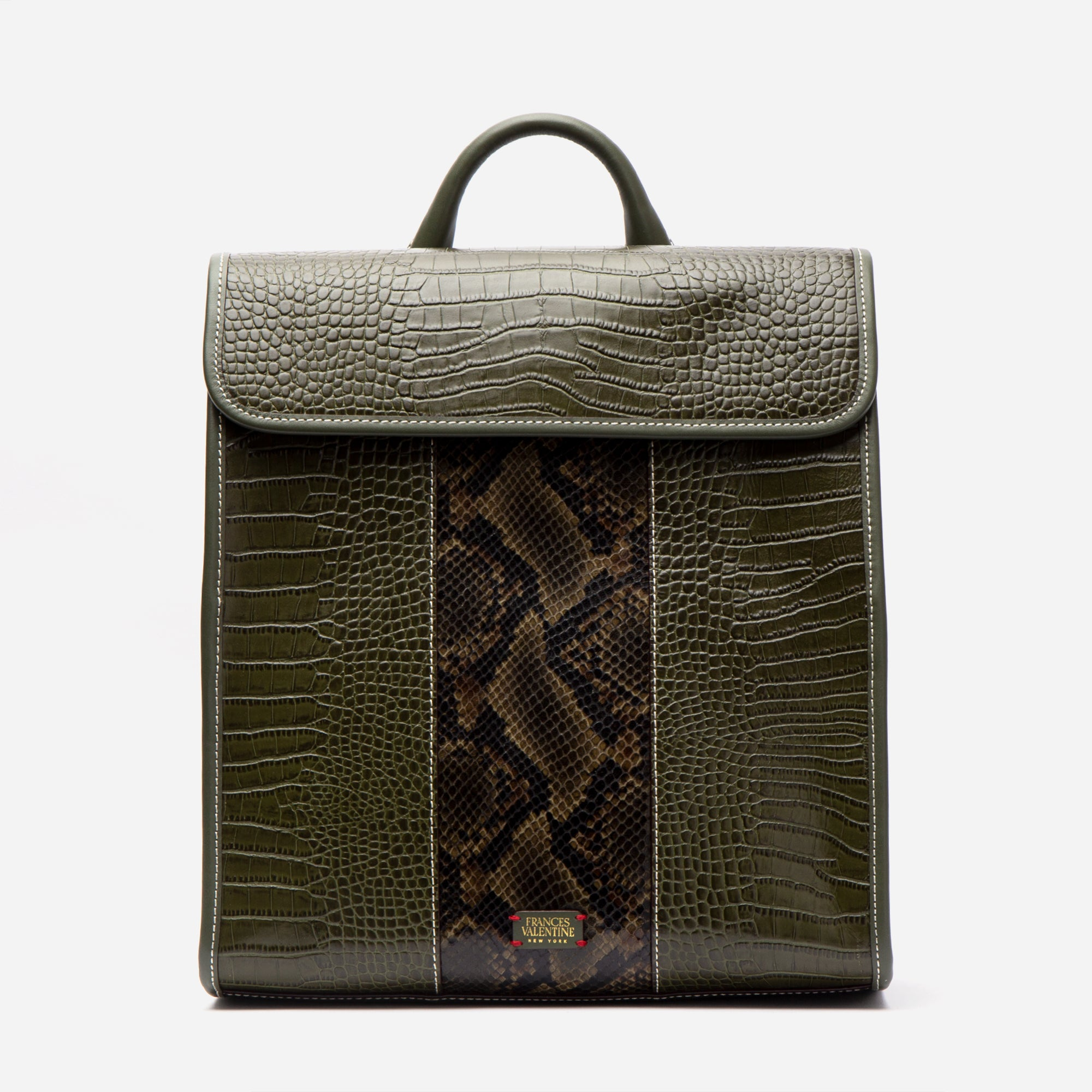 Trey Croc Embossed Racing Stripe Backpack Olive