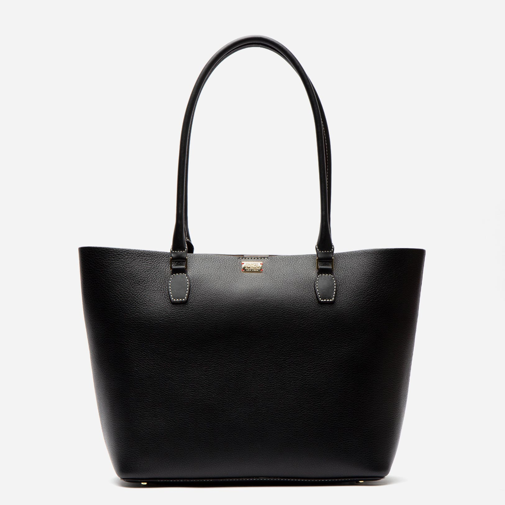 Medium Trixie Tumbled Leather Tote Black - Frances Valentine