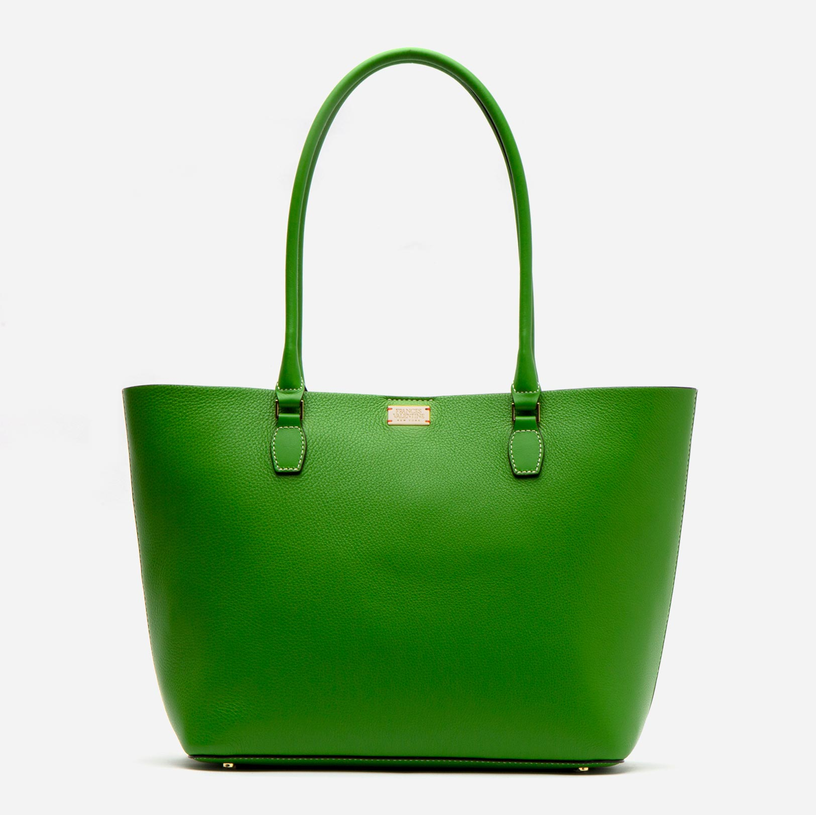 Medium Trixie Tumbled Leather Tote Green - Frances Valentine