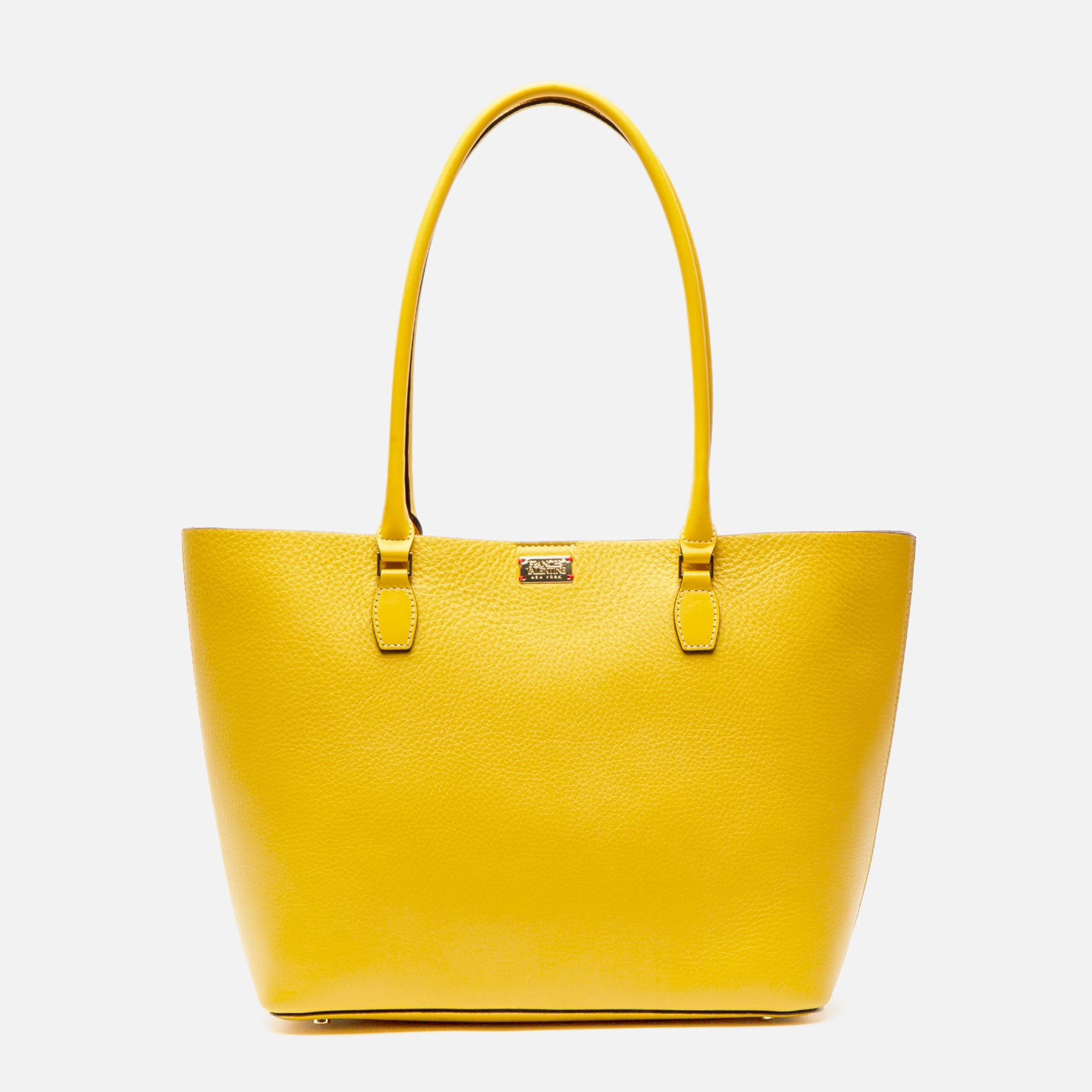 Medium Trixie Tumbled Leather Tote Yellow - Frances Valentine