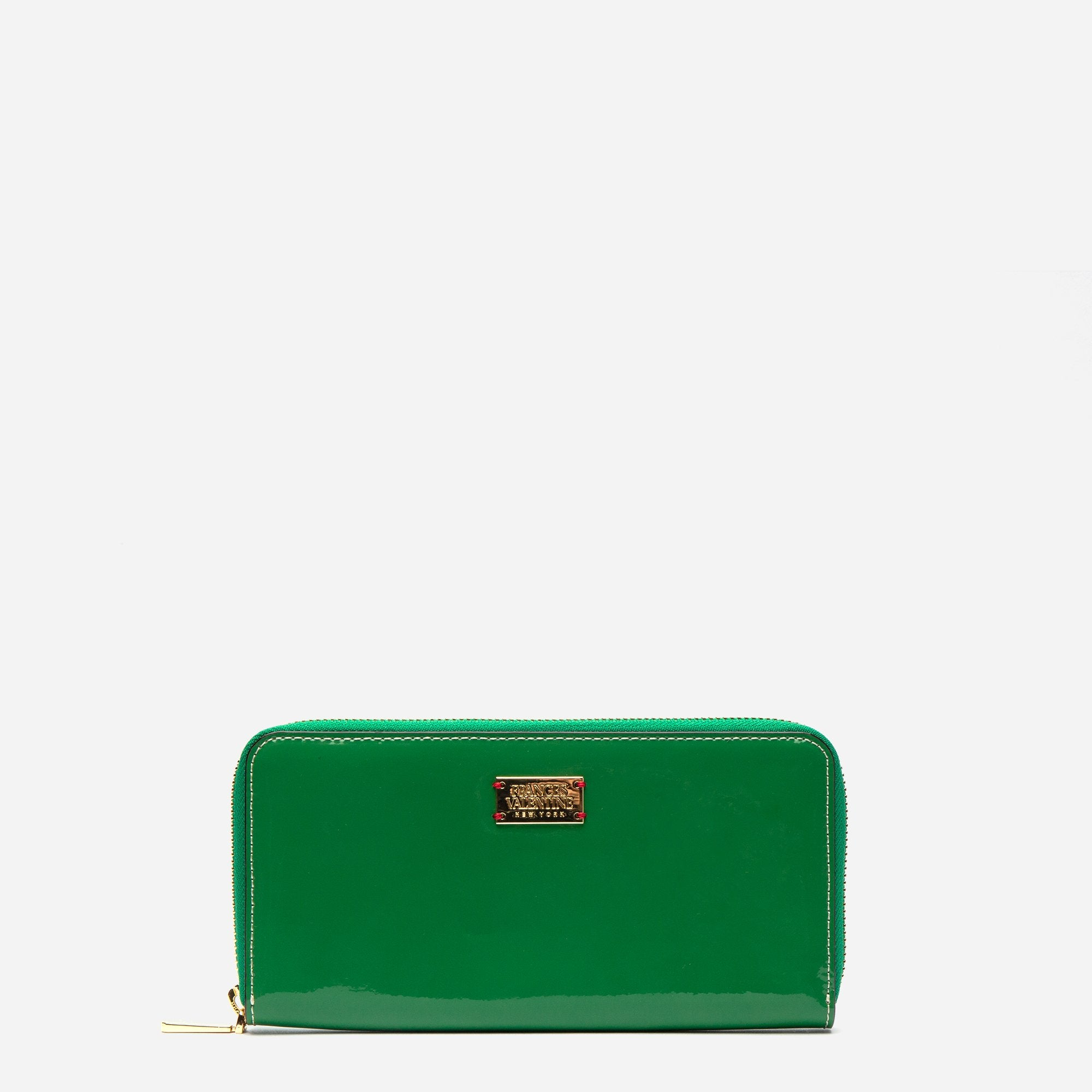 Washington Zip Wallet Soft Patent Green Yellow - Frances Valentine