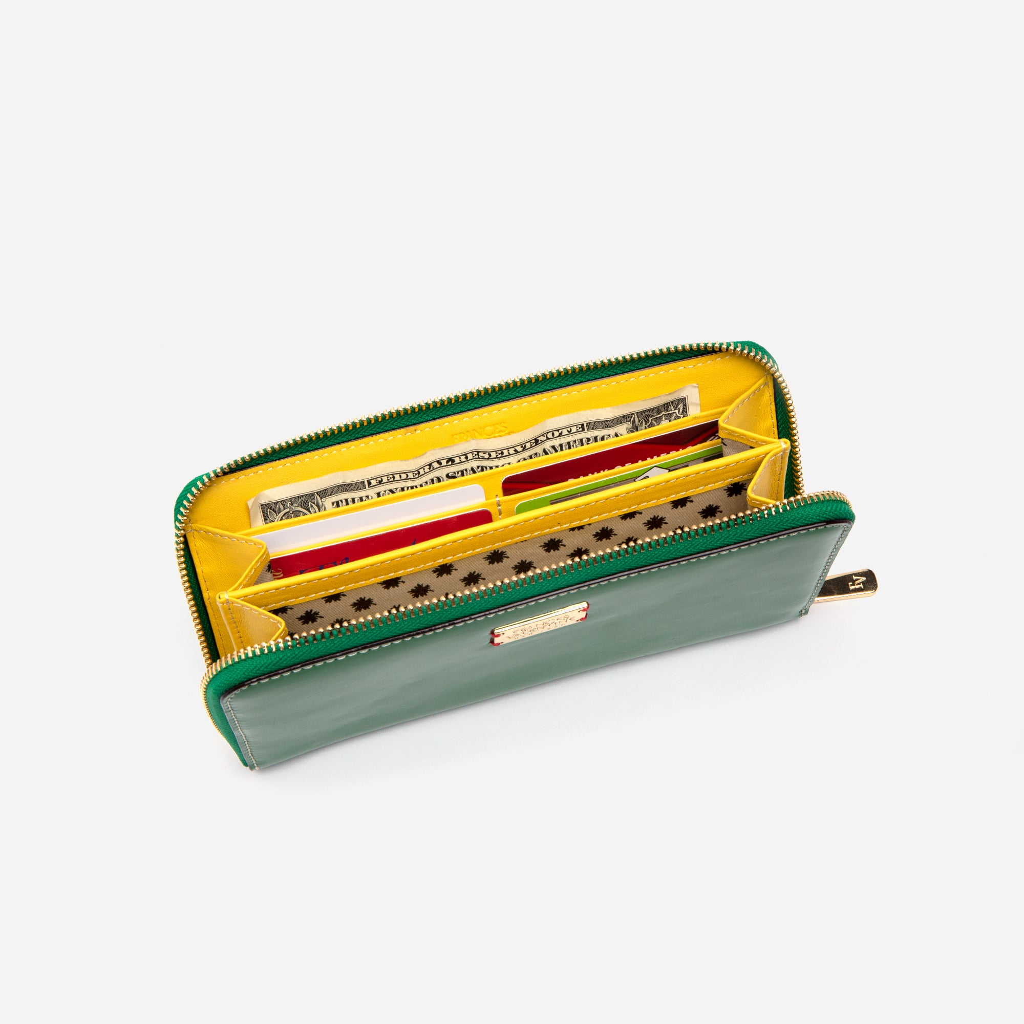 Washington Zip Wallet Soft Patent Green Yellow