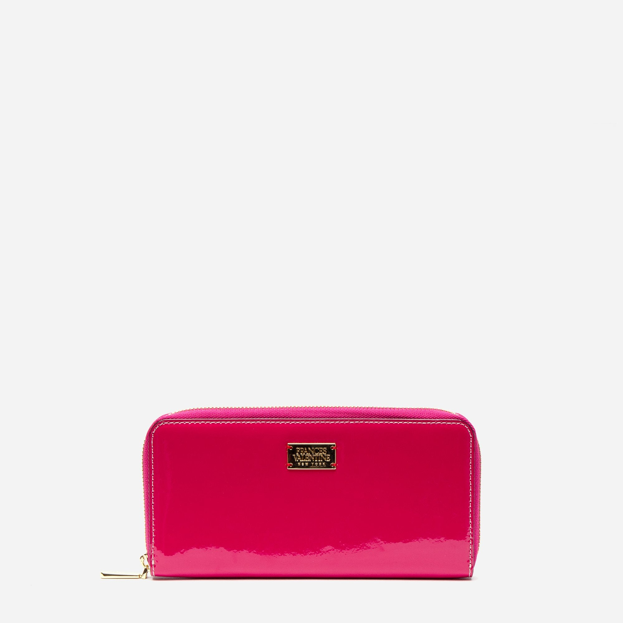 Washington Zip Wallet Soft Patent Pink Oyster - Frances Valentine