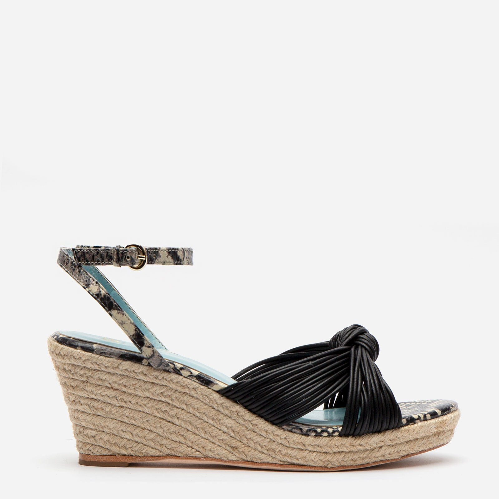 Trey Jute Wedge Sandal Black - Frances Valentine