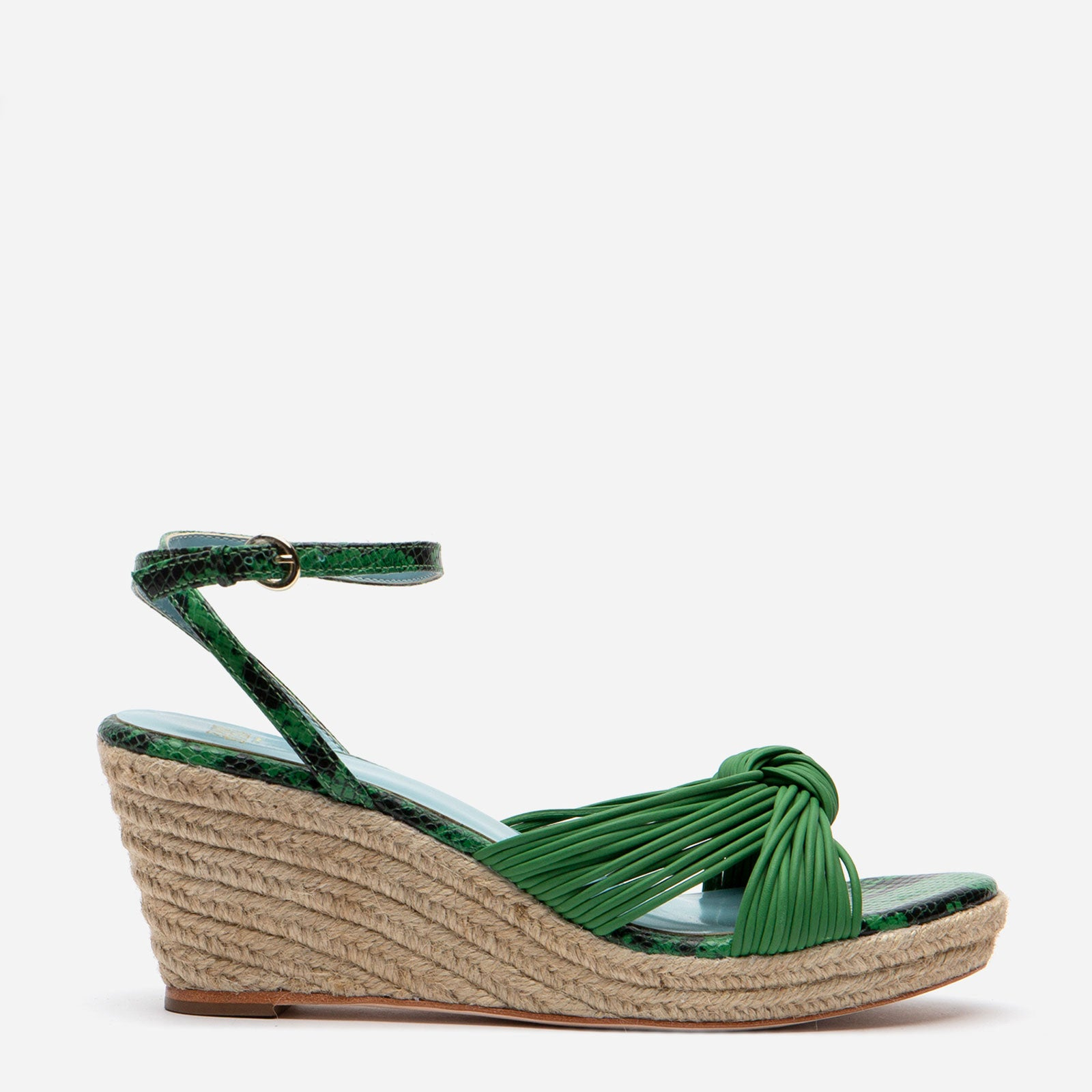 Trey Jute Wedge Sandal Green - Frances Valentine
