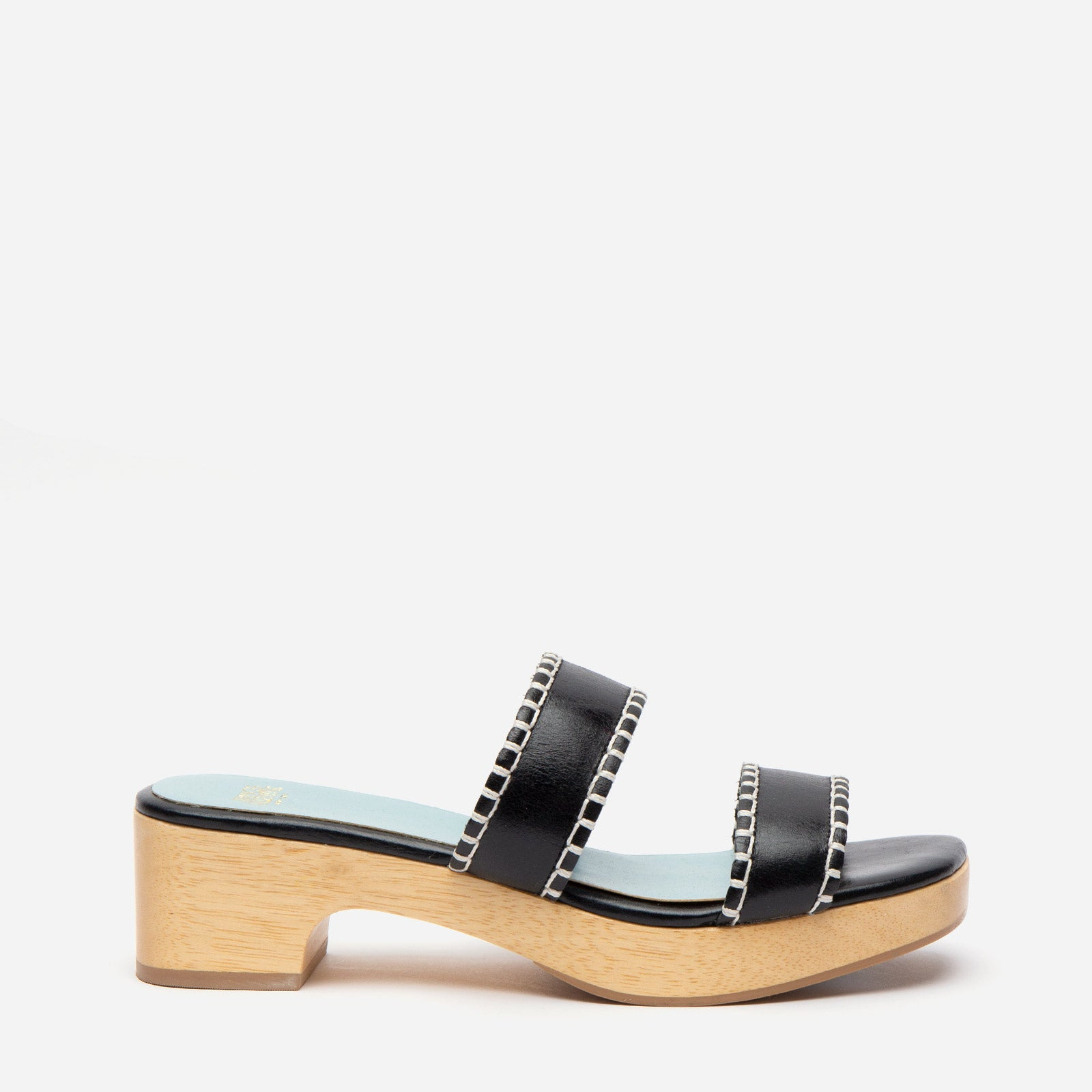 Wooden Slide Sandal Naplak Leather Black