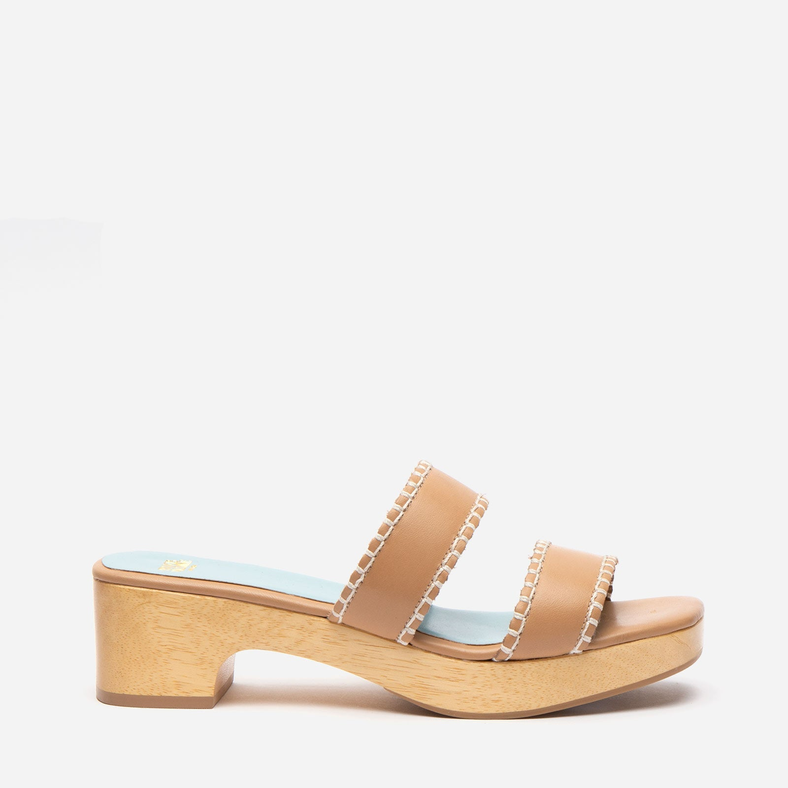 Wooden Slide Sandal Vachetta Leather Natural - Frances Valentine