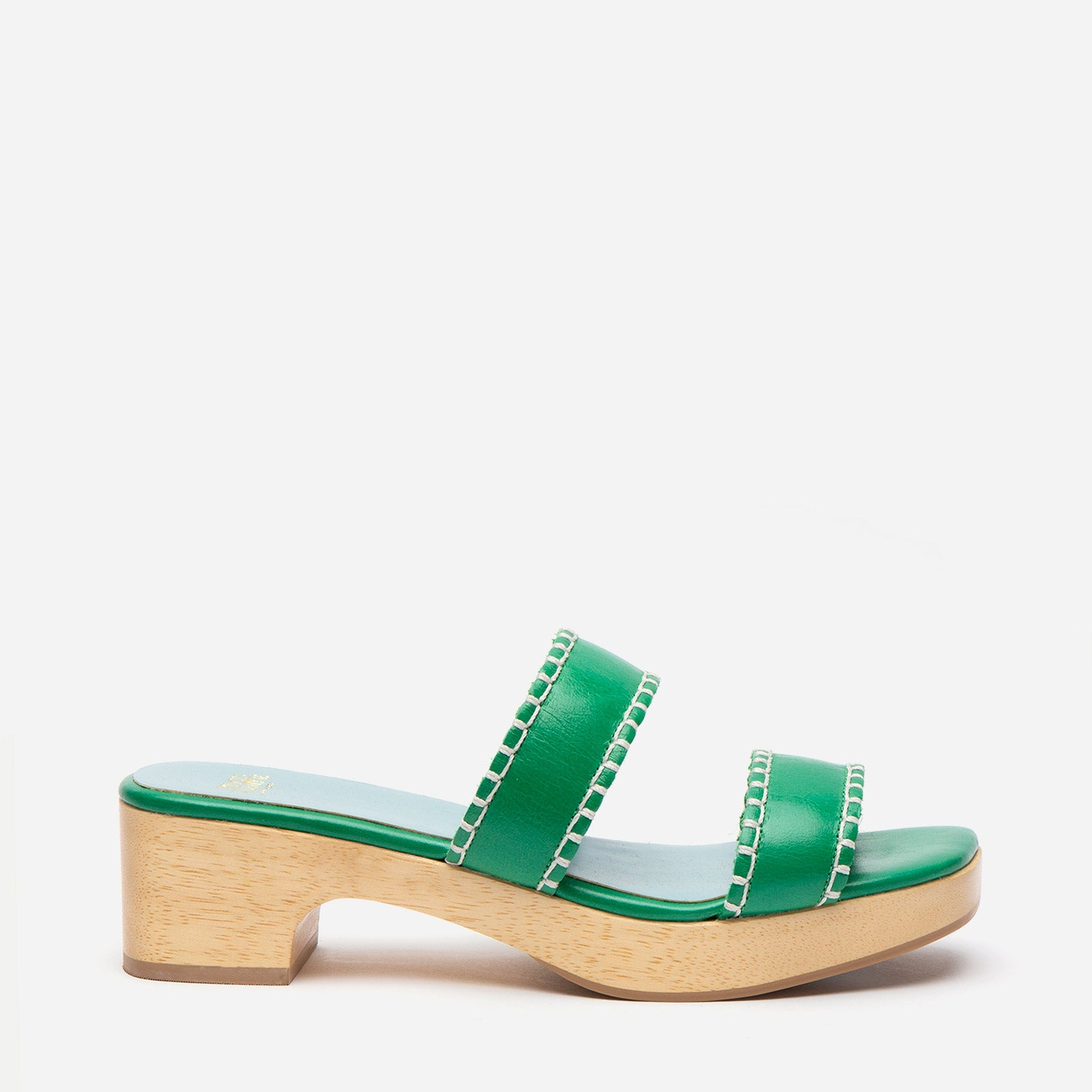 Wooden Slide Sandal Naplak Leather Green - Frances Valentine
