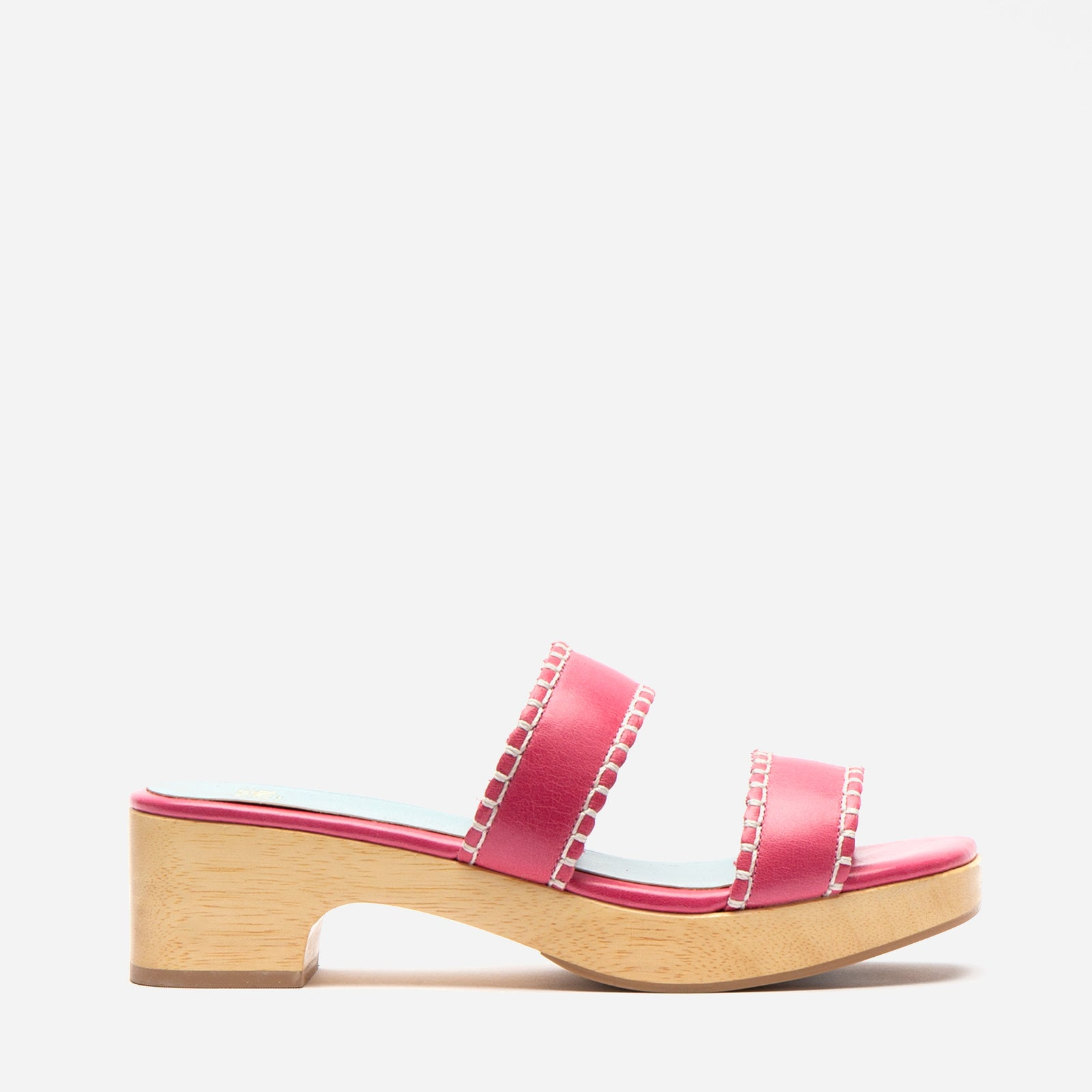 Wooden Slide Sandal Naplak Leather Pink