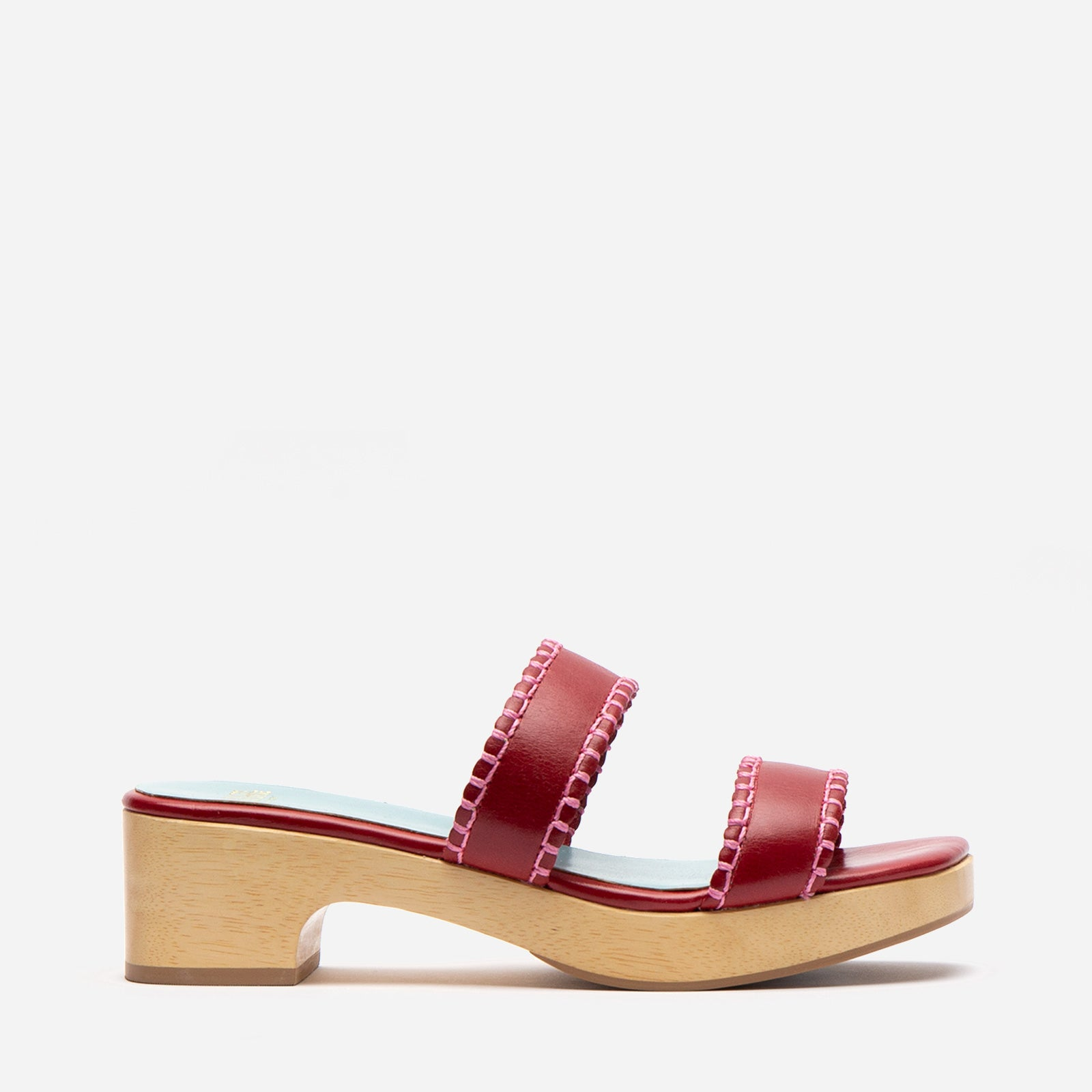Wooden Slide Sandal Naplak Leather Red
