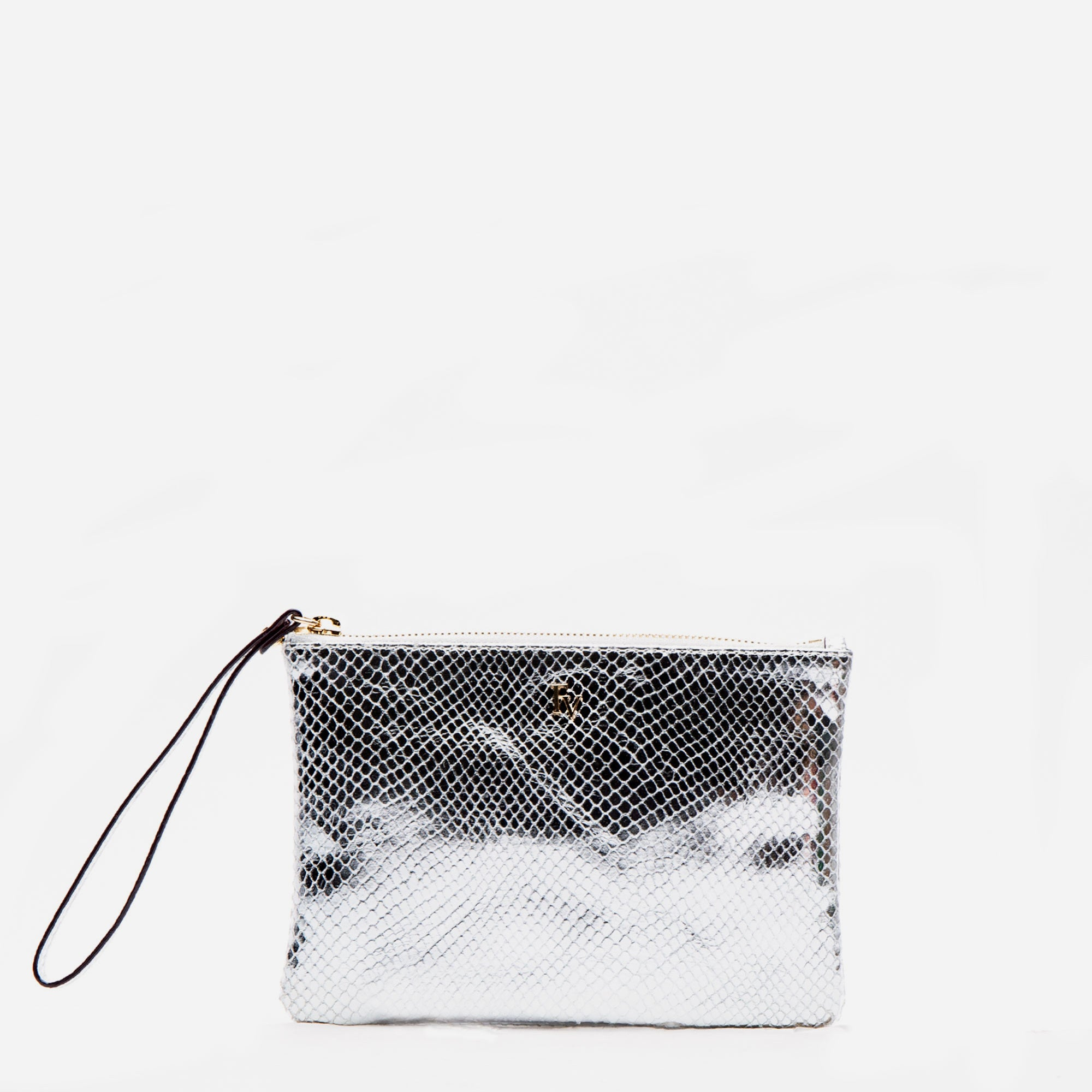 Wristlet Snake Leather Silver