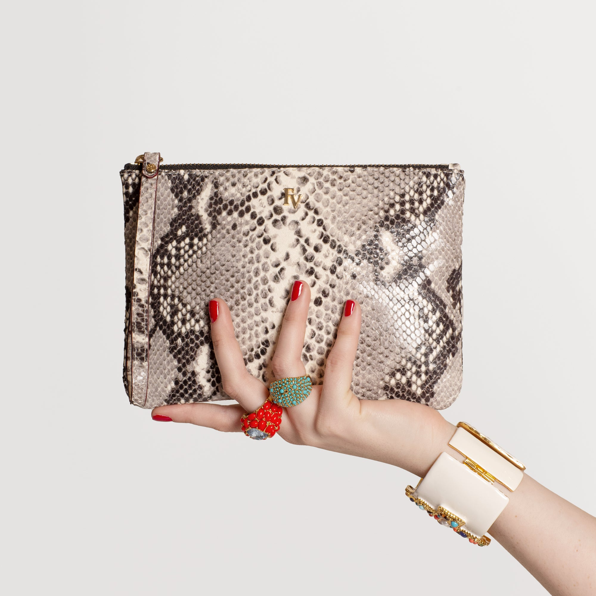 Wristlet Snake Leather Natural - Frances Valentine