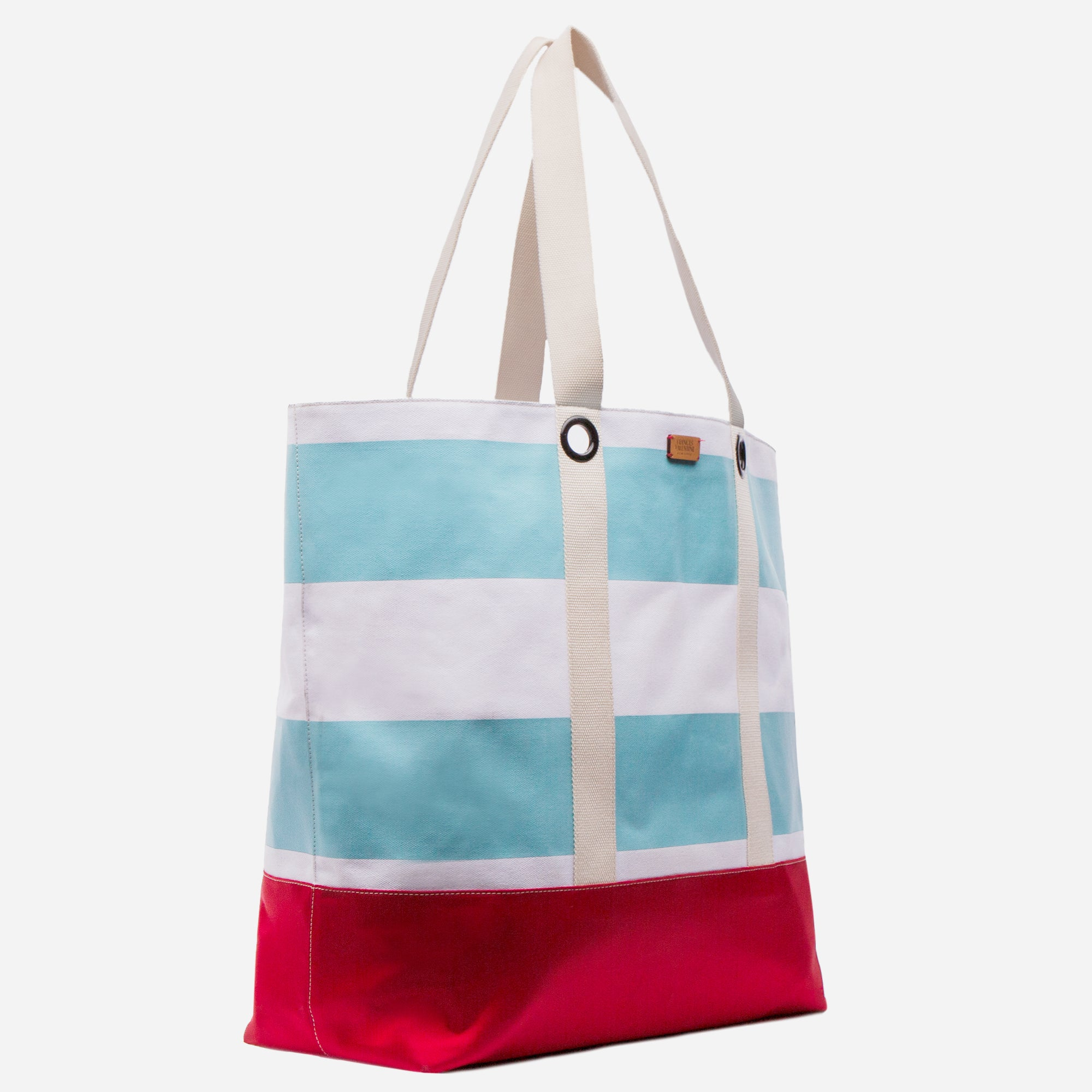 XL Gibson Beach Tote Light Blue Red