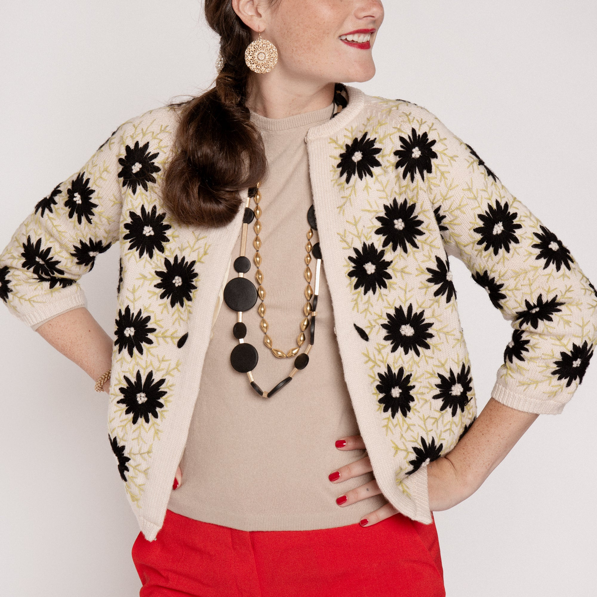 Katy's Flower Cardi Coat Black