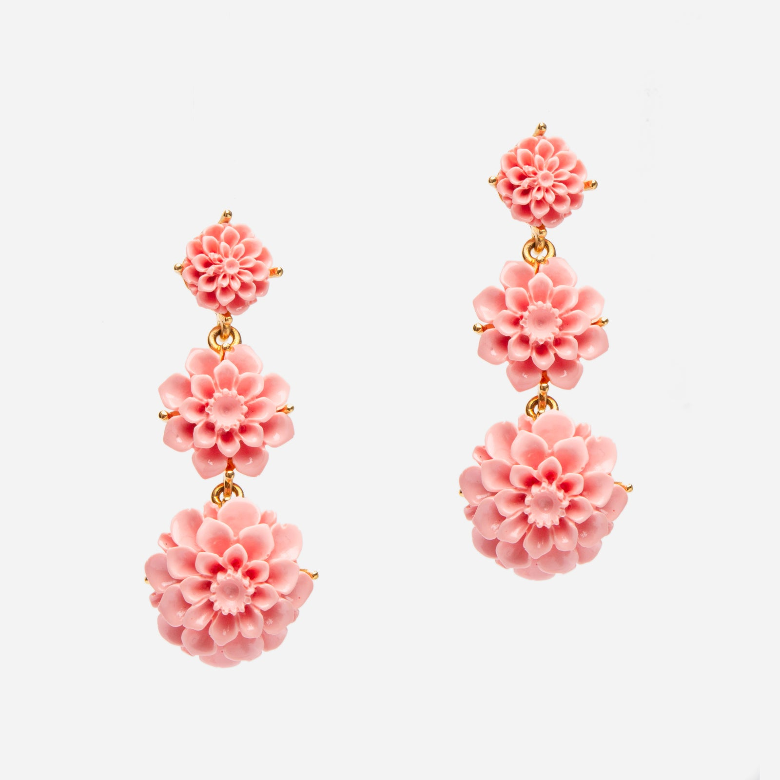 Cascading Peony Earring Pink - Frances Valentine