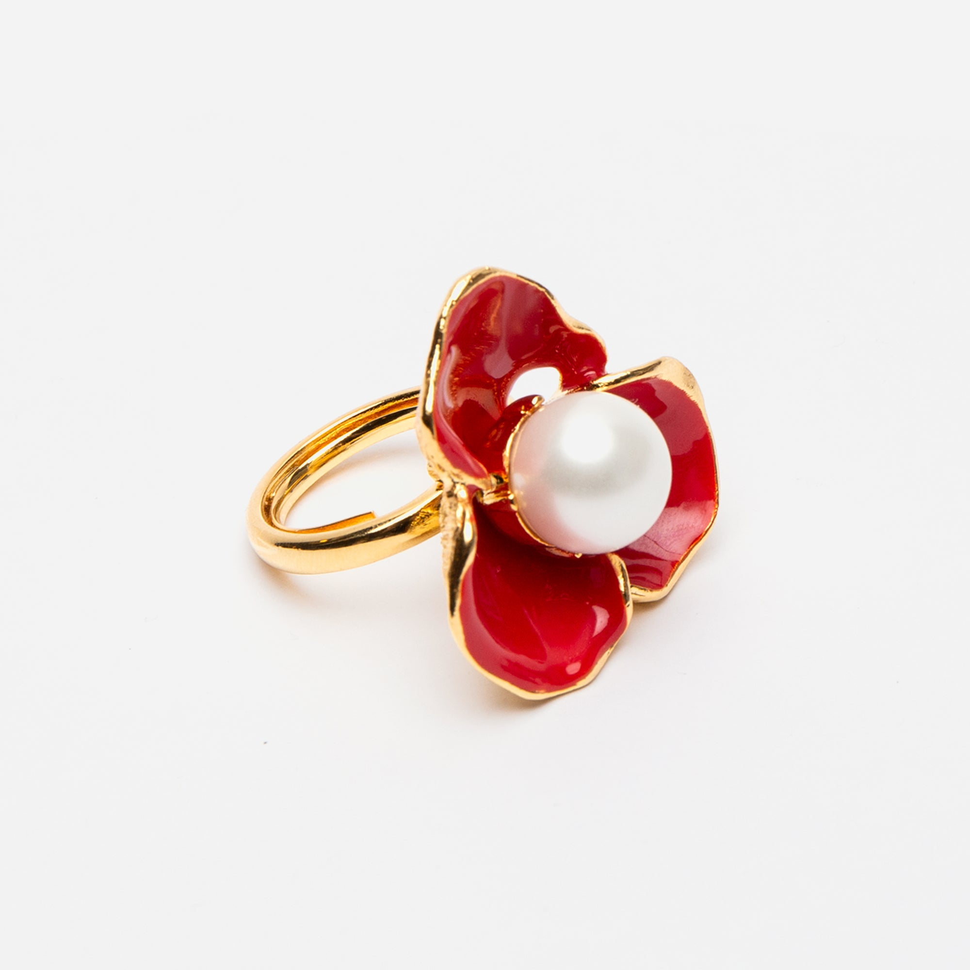 Red Pearl Flower Ring