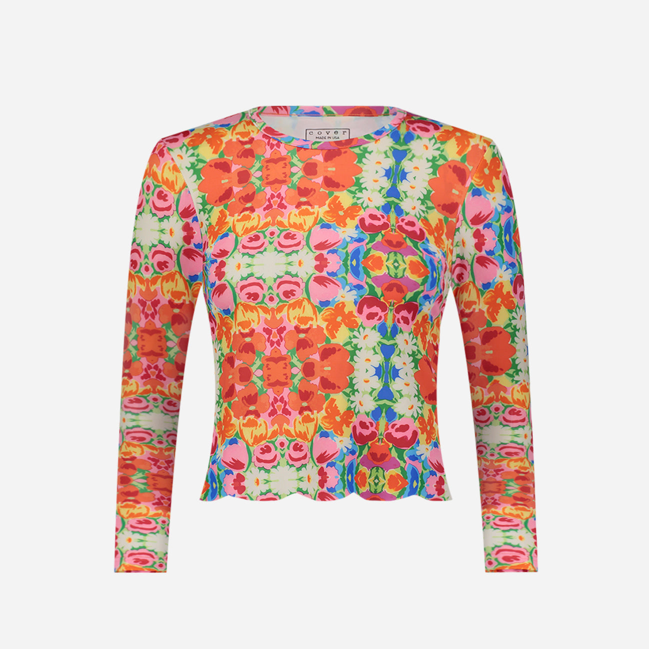 Cover Swim x FV Scallop Cut Swim Shirt Bright Floral