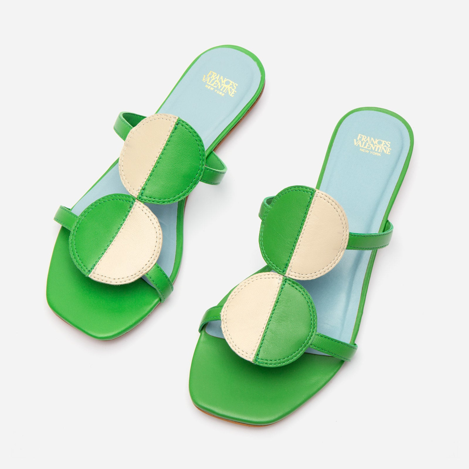Double Circle Slide Colorblock Green Oyster - Frances Valentine