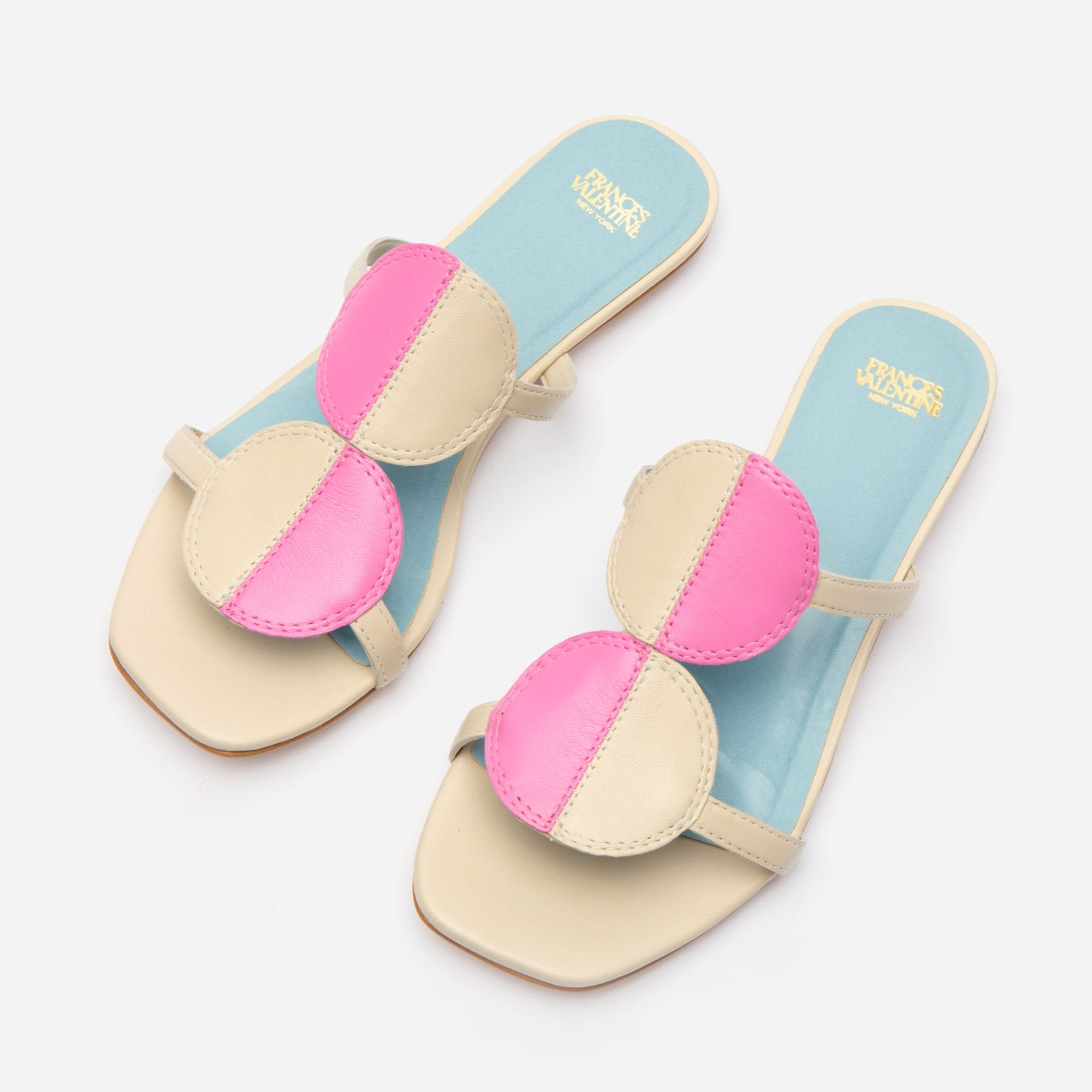 Double Circle Slide Colorblock Pink Oyster