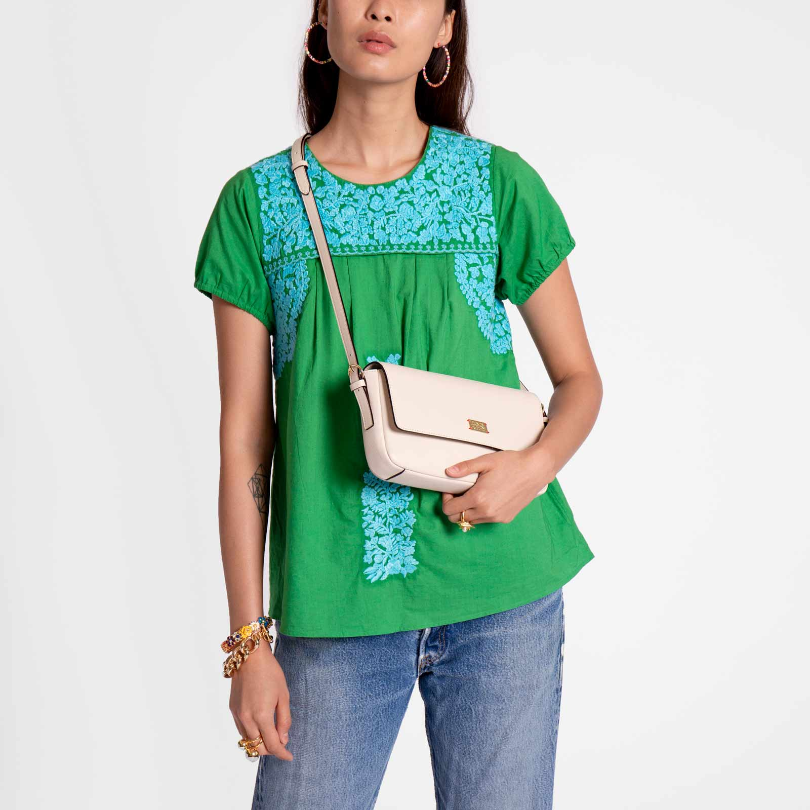 Floral Embroidered Lace Top Green Light Blue