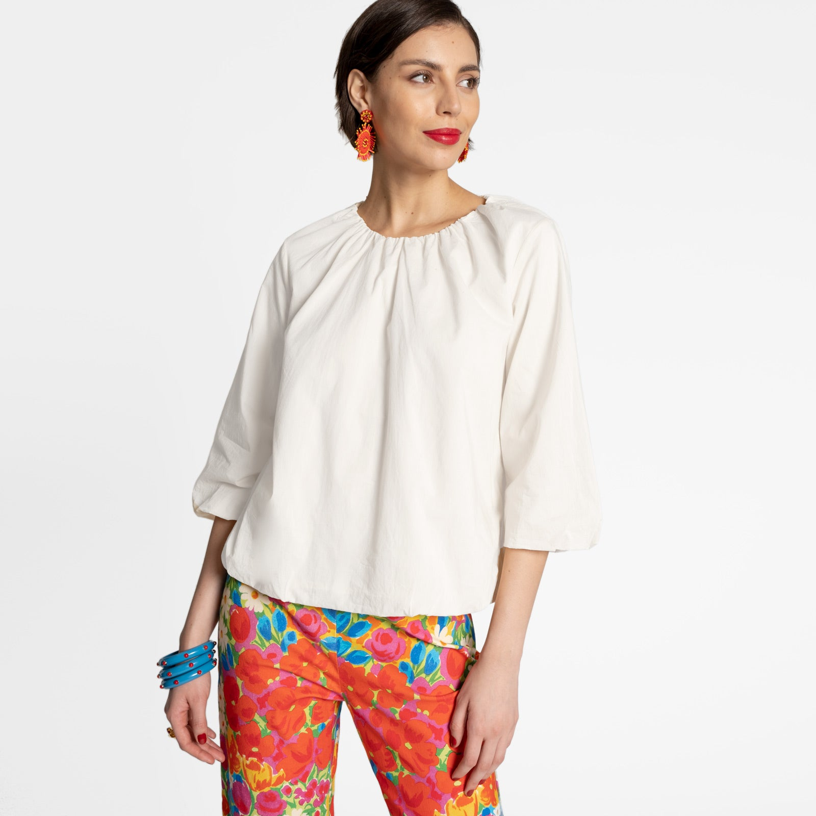 Emily Ruched Top White