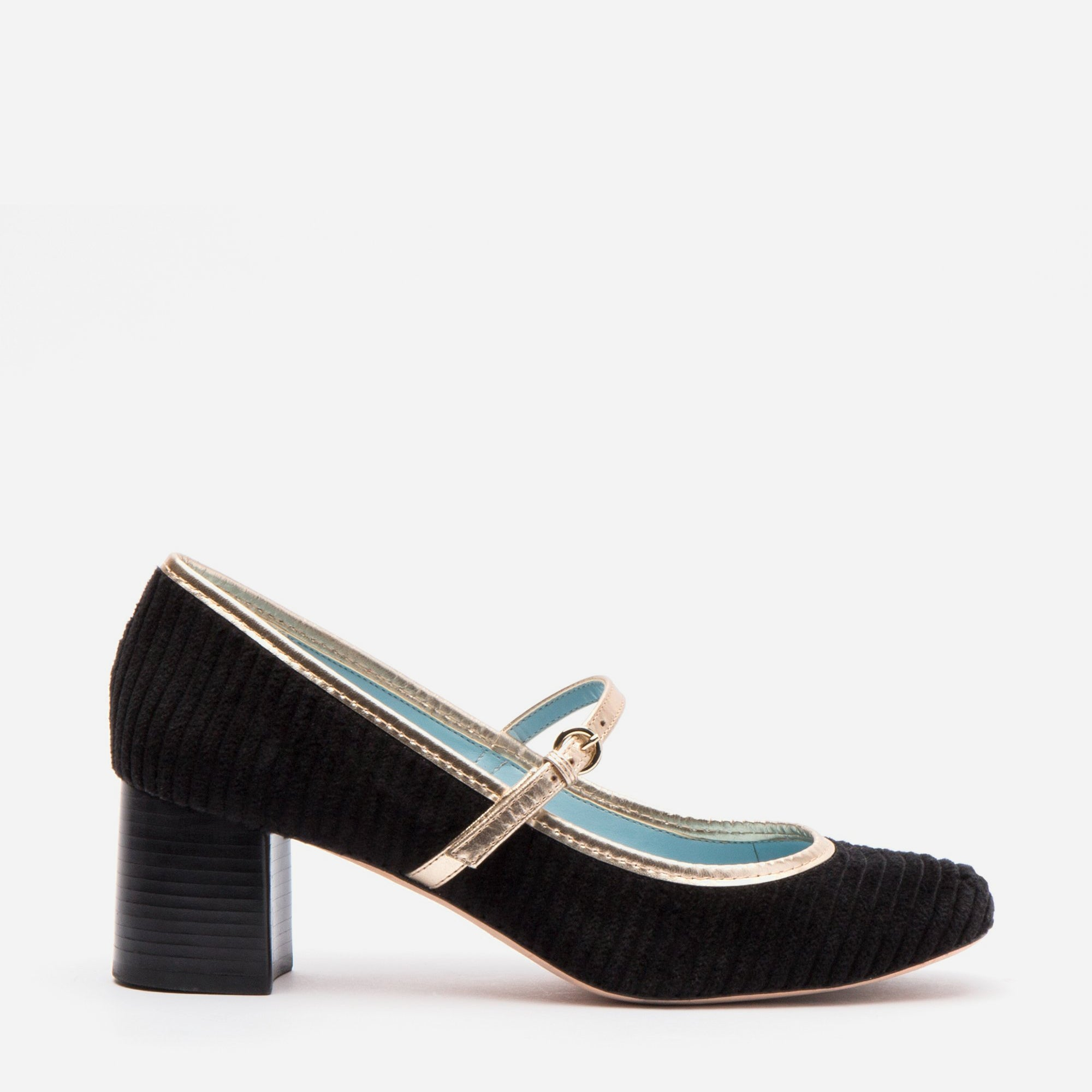 Kat Mary Jane Heels Corduroy Black - Frances Valentine