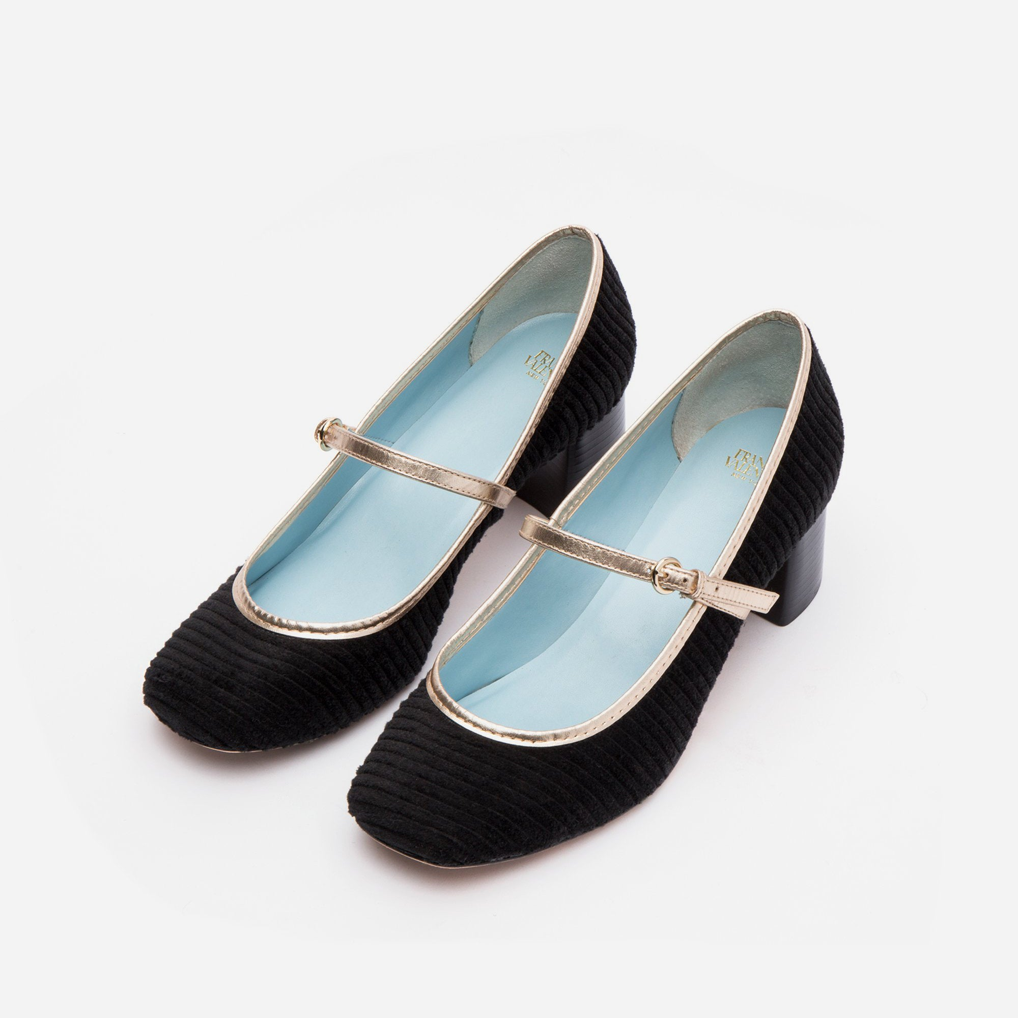 Kat Mary Jane Heels Corduroy Black