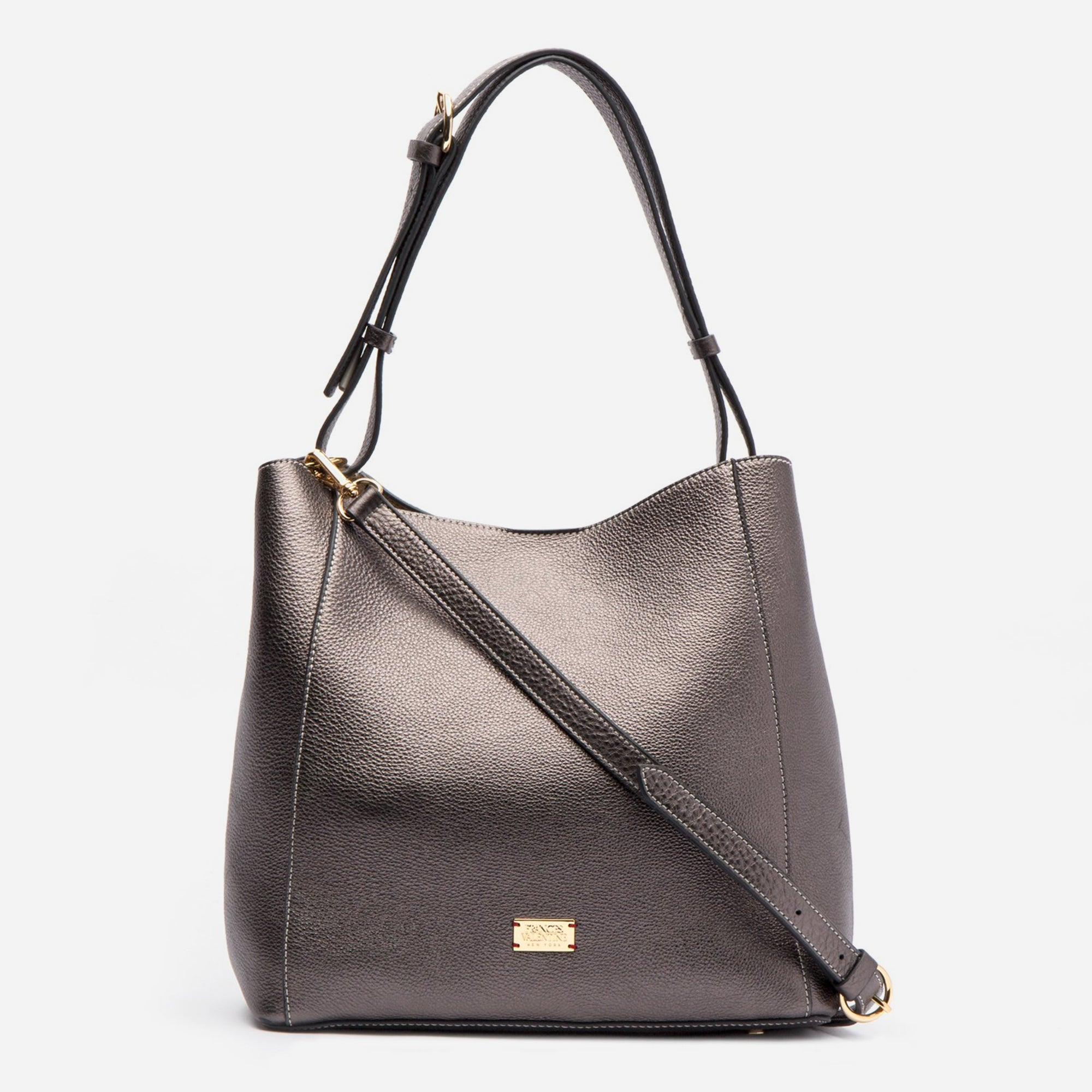 June Hobo Handbag Leather Pewter