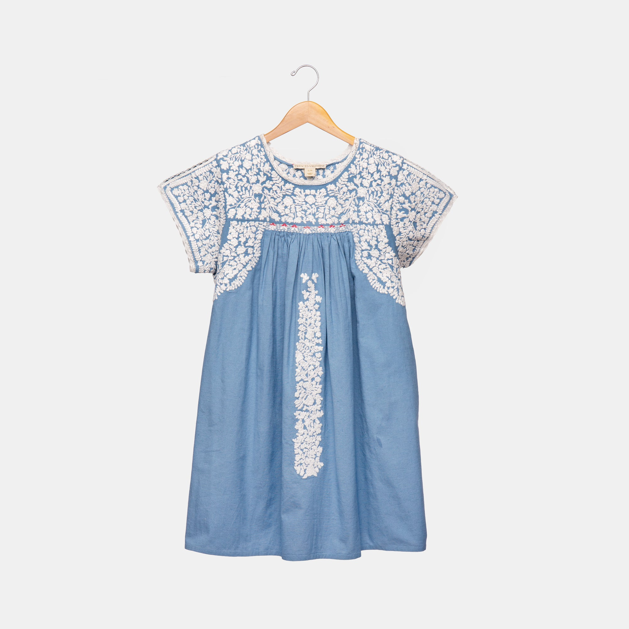 Floral Embroidery Dress Blue