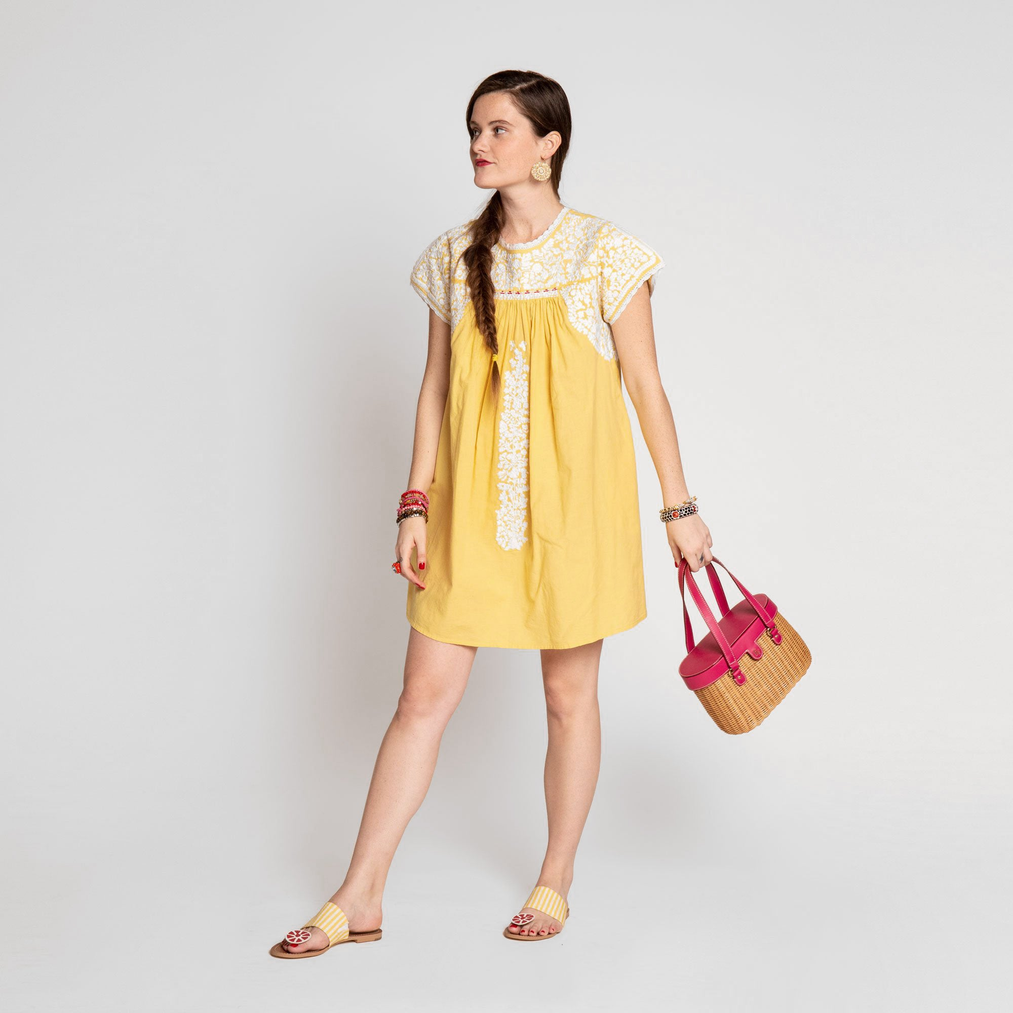 Floral Embroidered Lace Dress Yellow Oyster