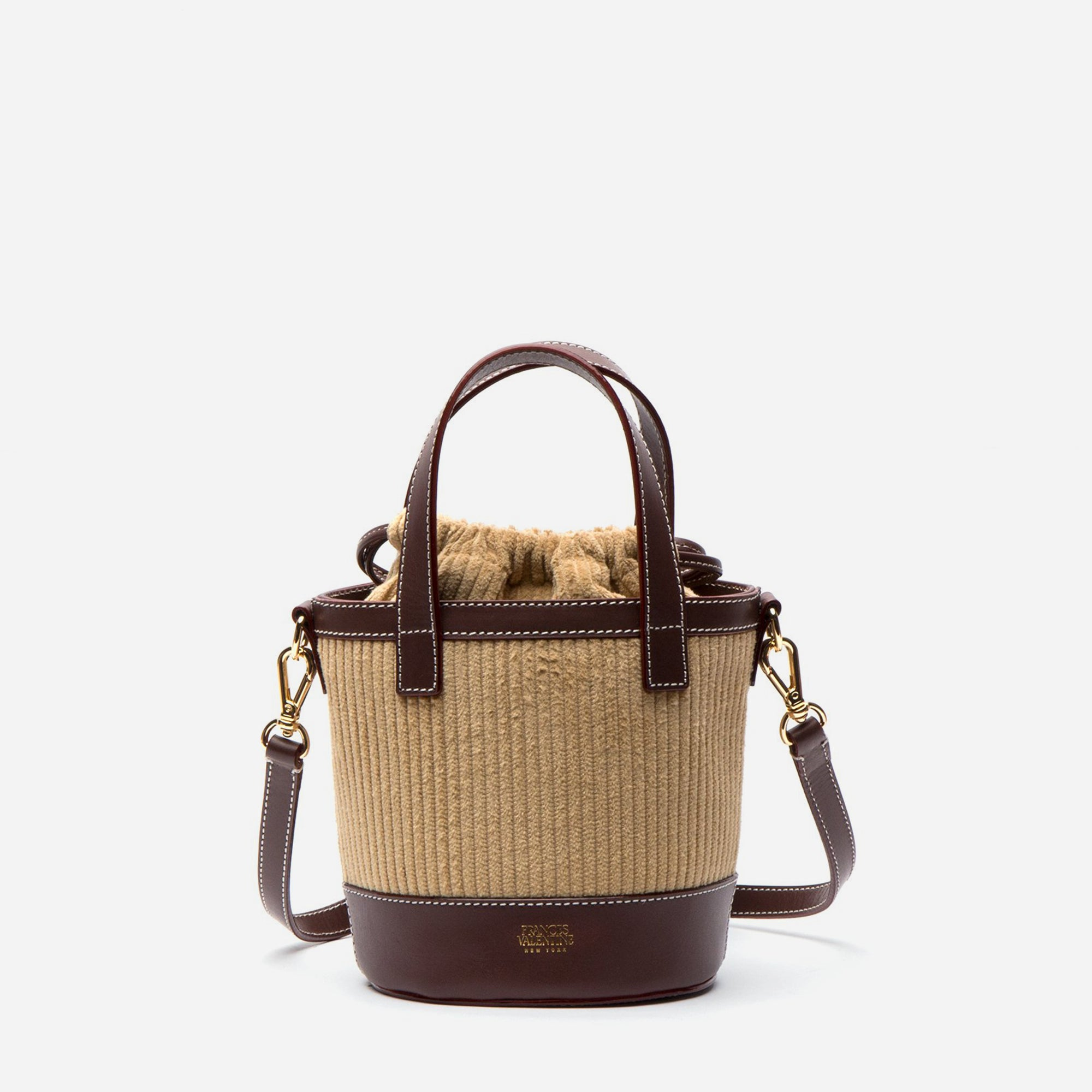 Small Corduroy Bucket Bag Camel