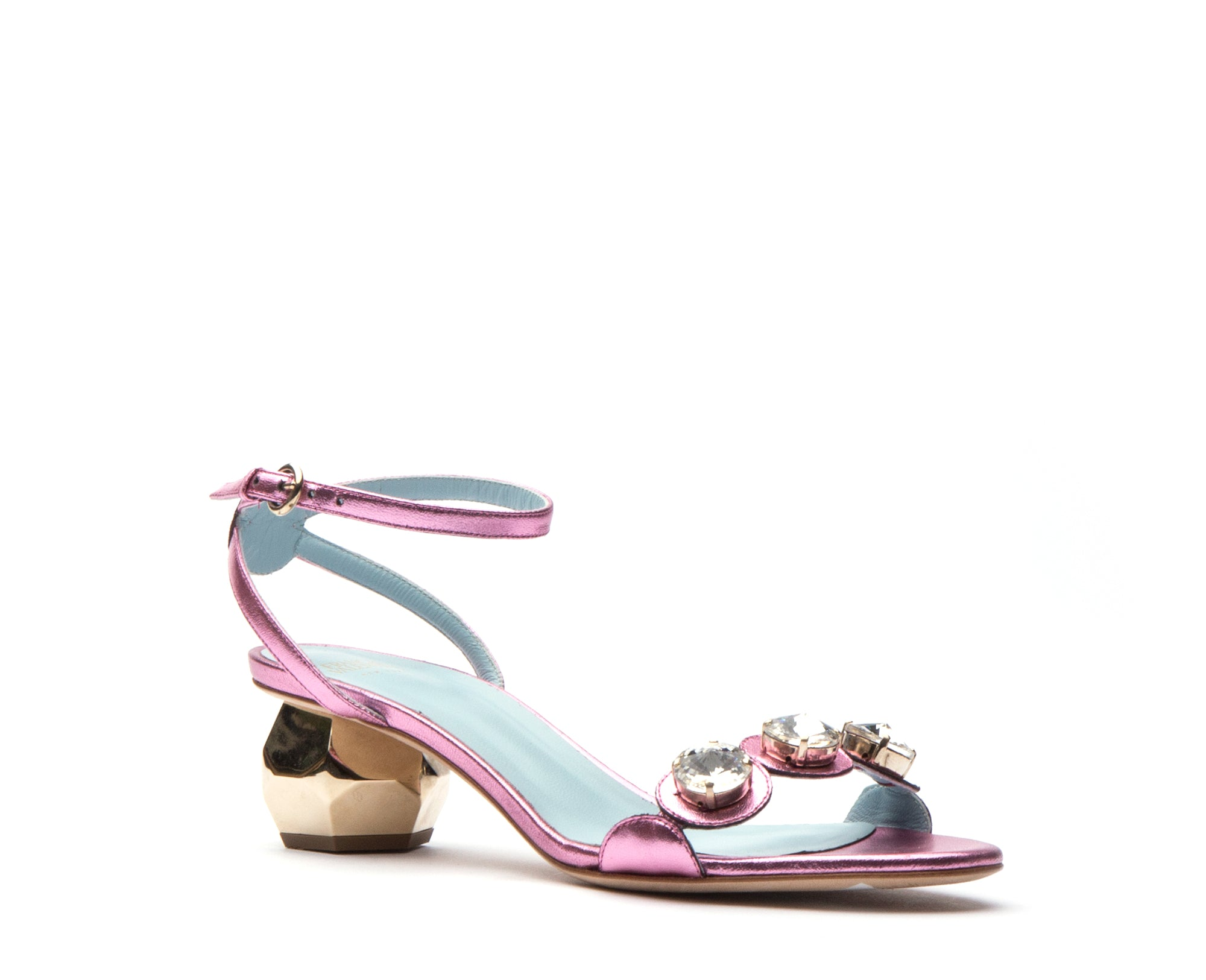 Beatrix Metallic Leather Heels Light Pink