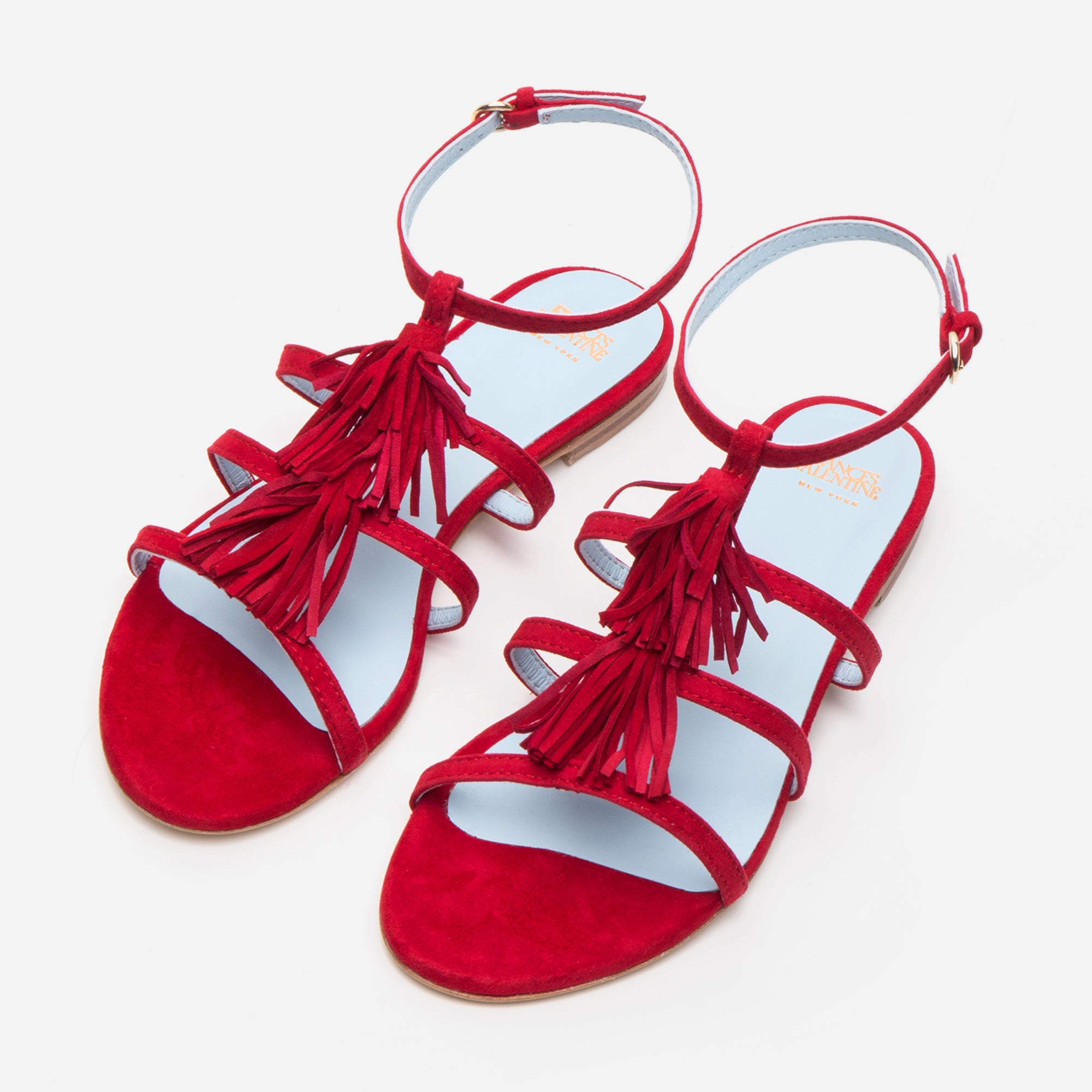 Mia Suede Fringe Sandals Red