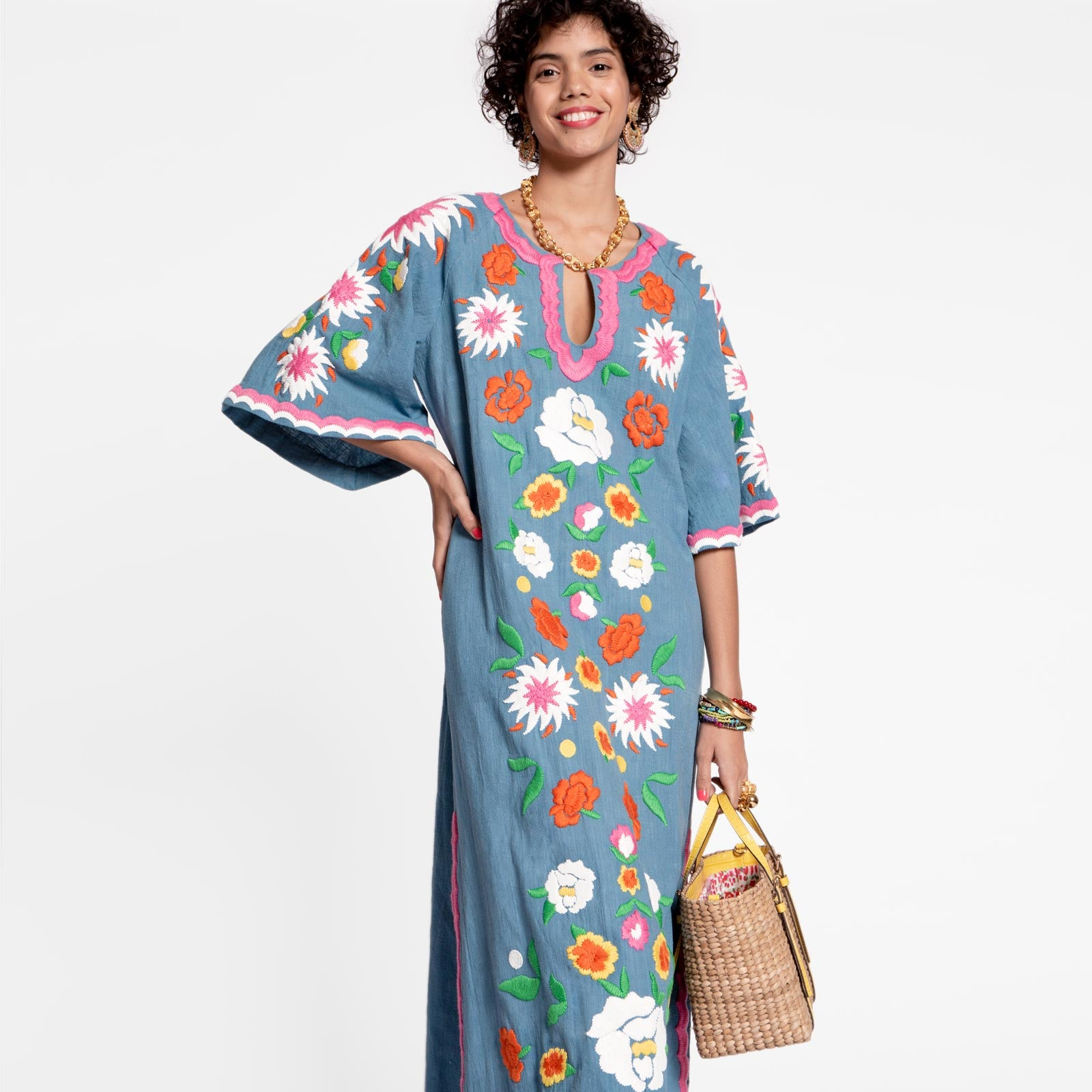 Floral Garland Caftan Light Blue