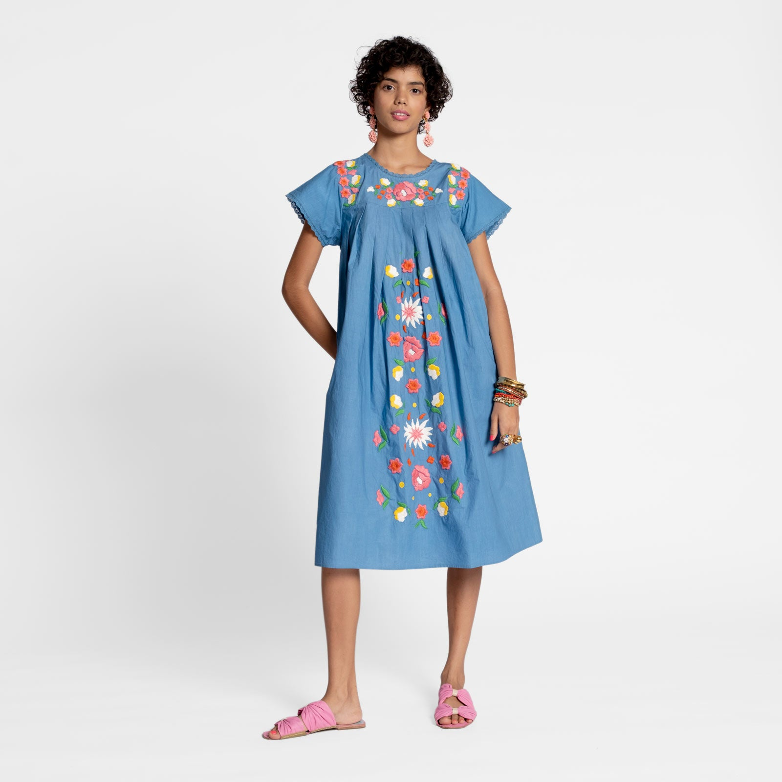 Floral Garland Embroidered Dress Light Blue