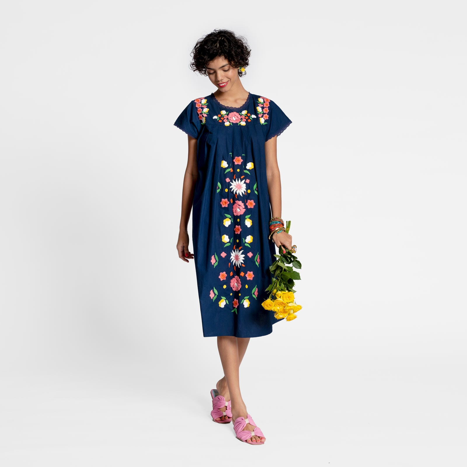 Floral Garland Embroidered Dress Navy
