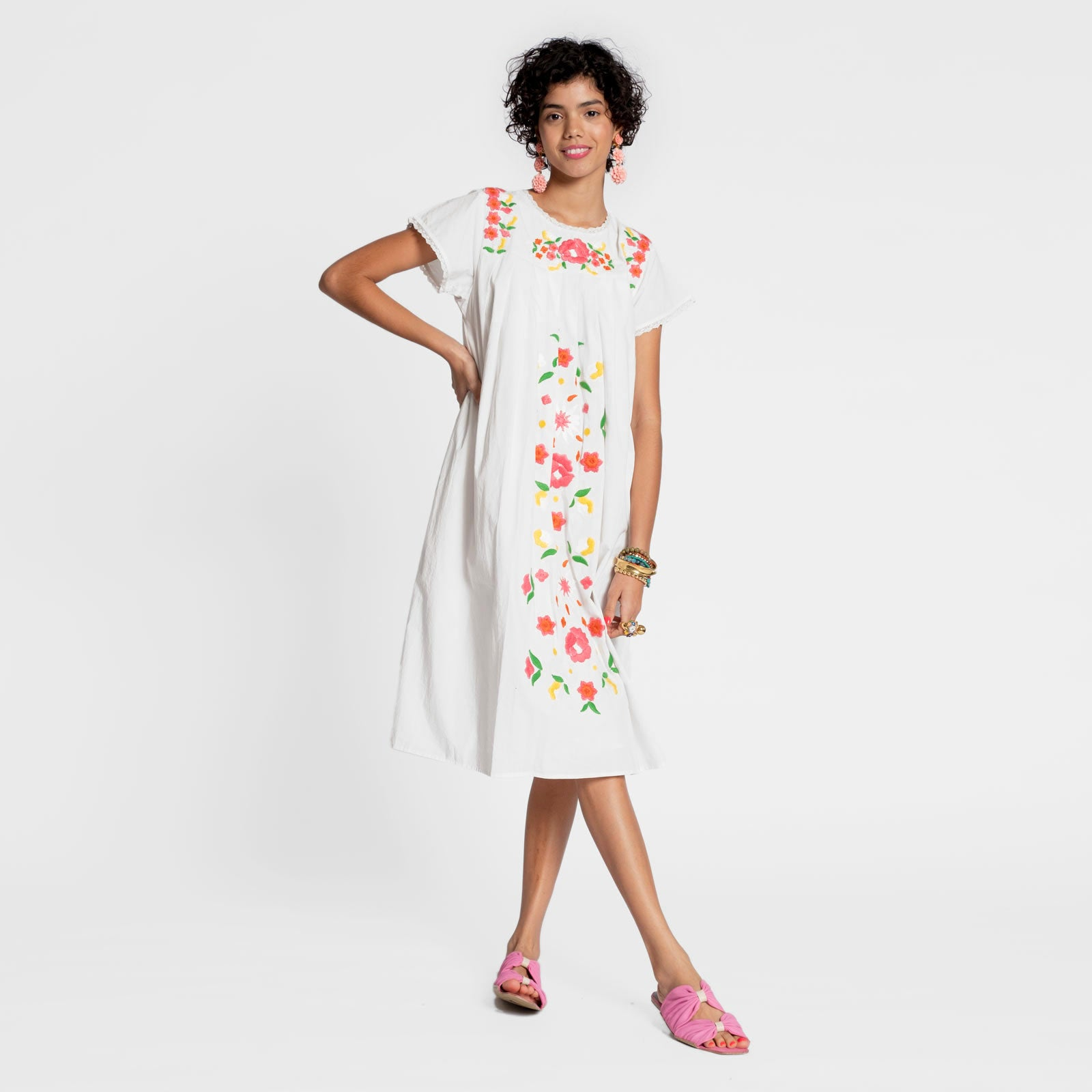 Floral Garland Embroidered Dress Oyster