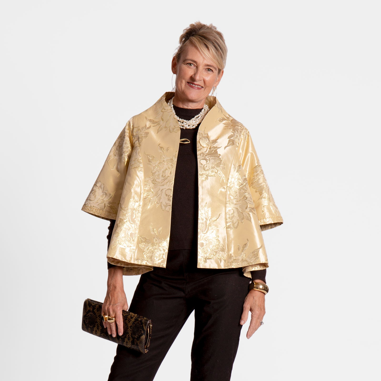 Short Metallic Jacquard Swing Coat Platino - Frances Valentine