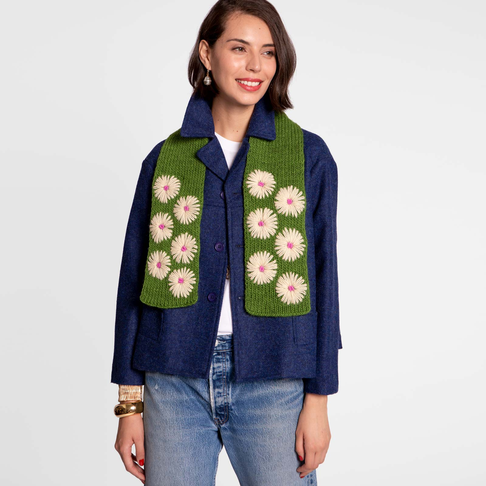 Wool Flower Scarf Olive