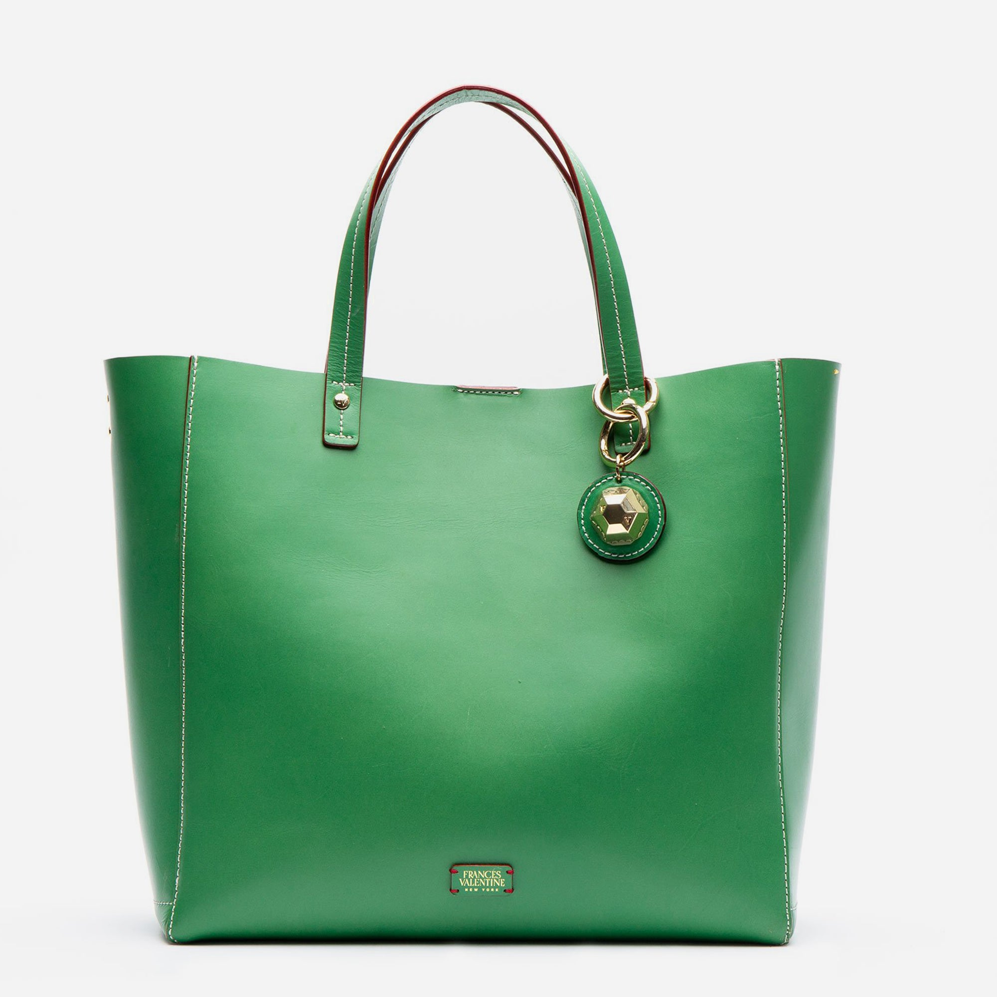 Large Margaret Leather Tote Green Ray - Frances Valentine