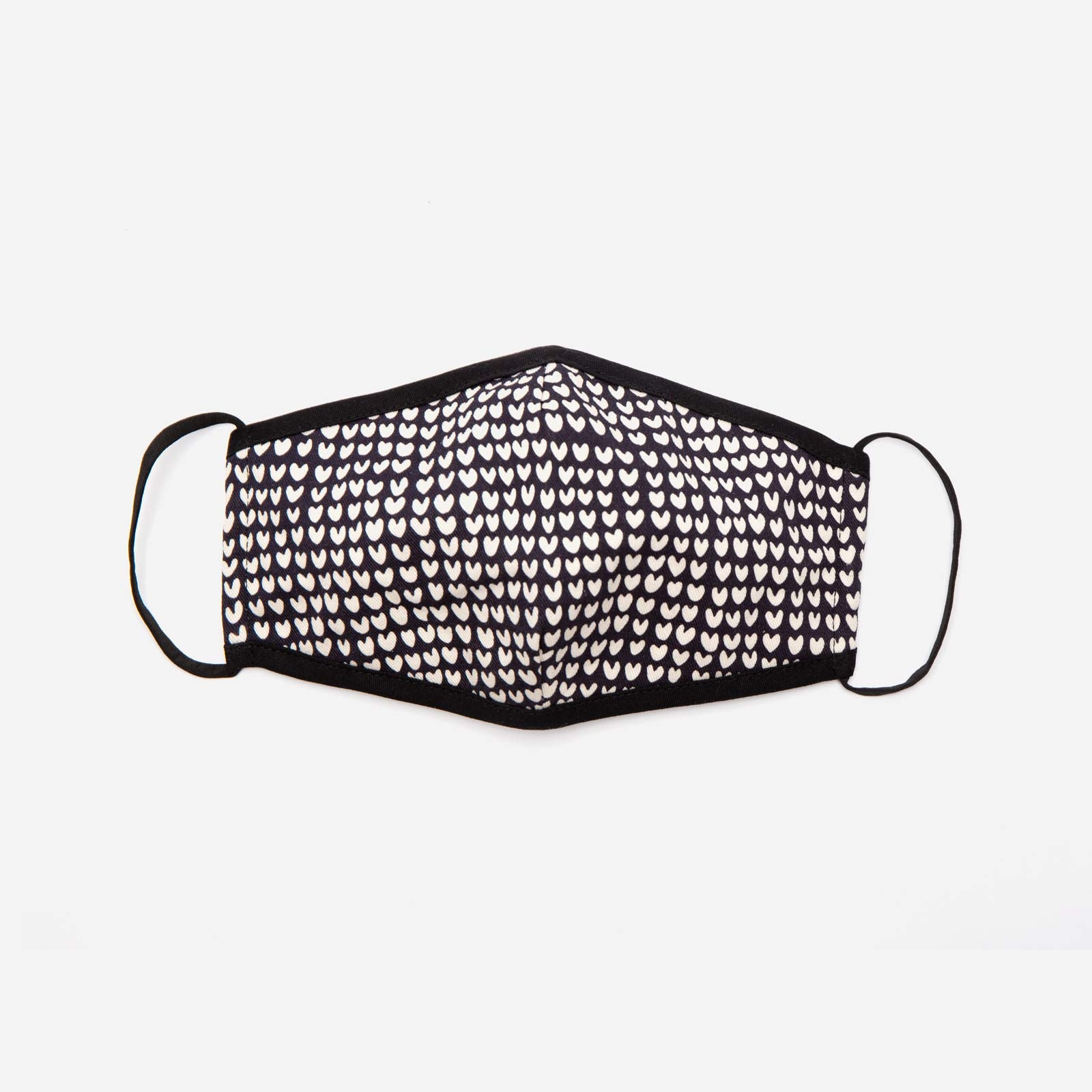 Fitted Mask Heart Print Black Oyster - Frances Valentine