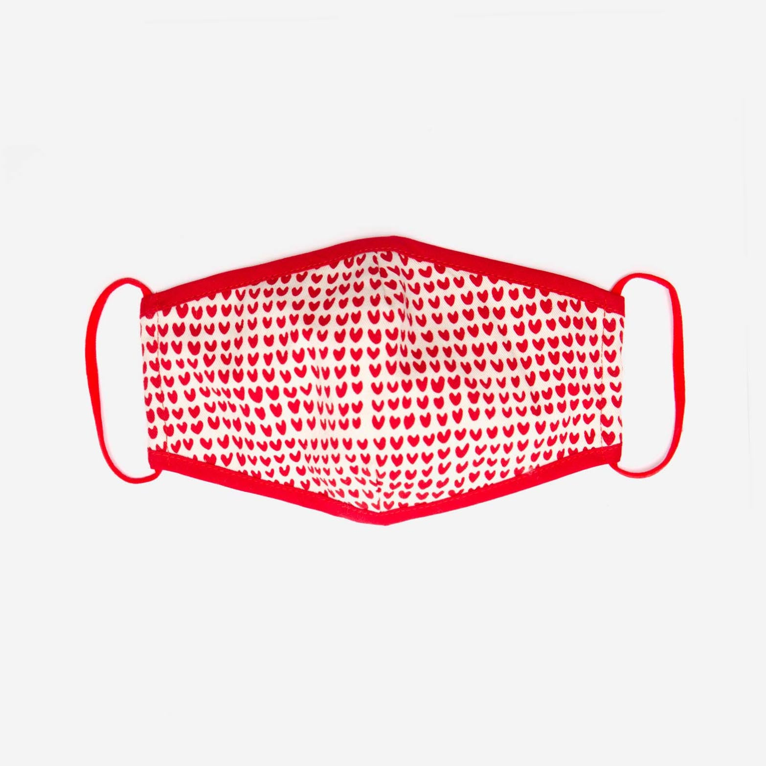 Fitted Mask Heart Print Oyster Red