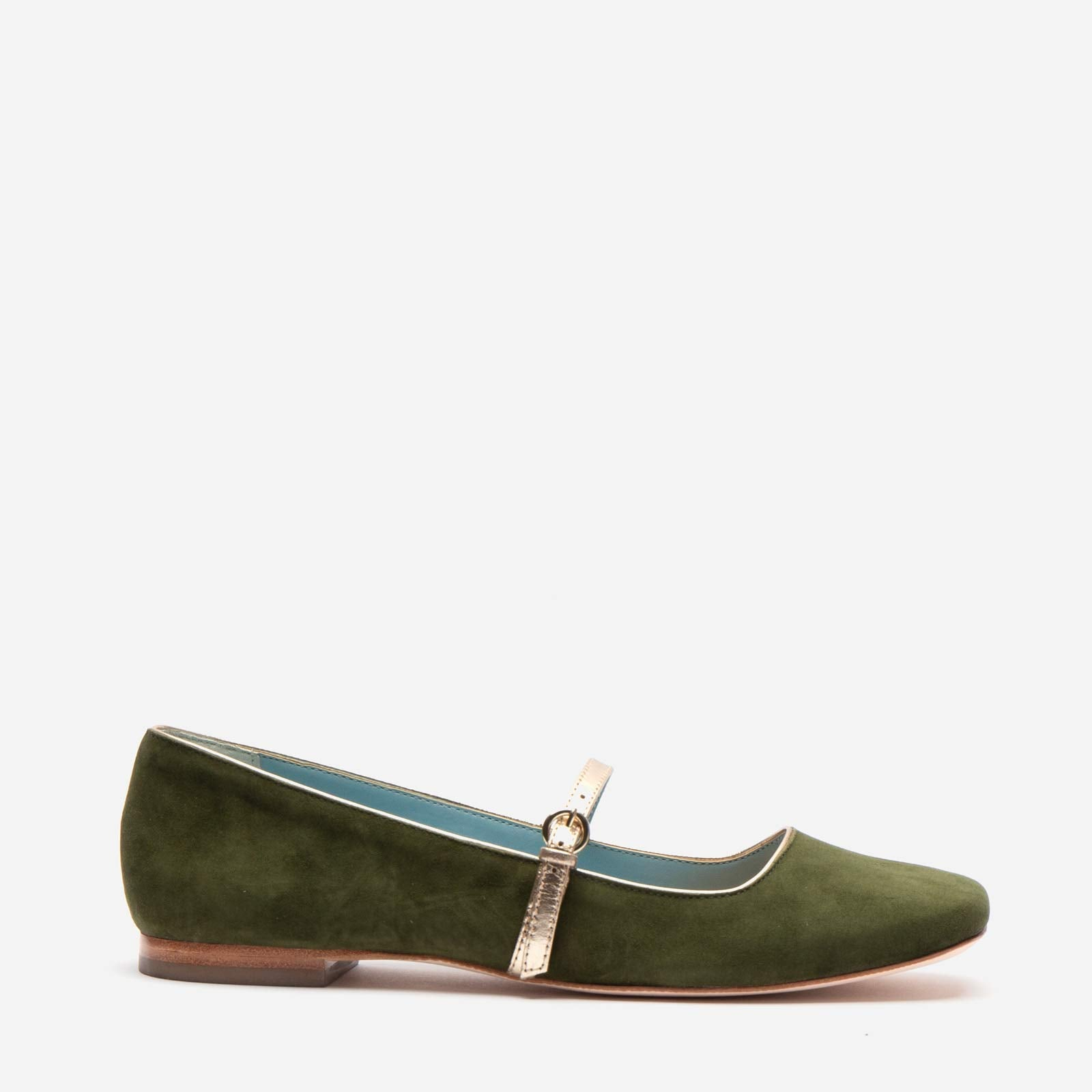 Joan Suede Mary Jane Flat Olive