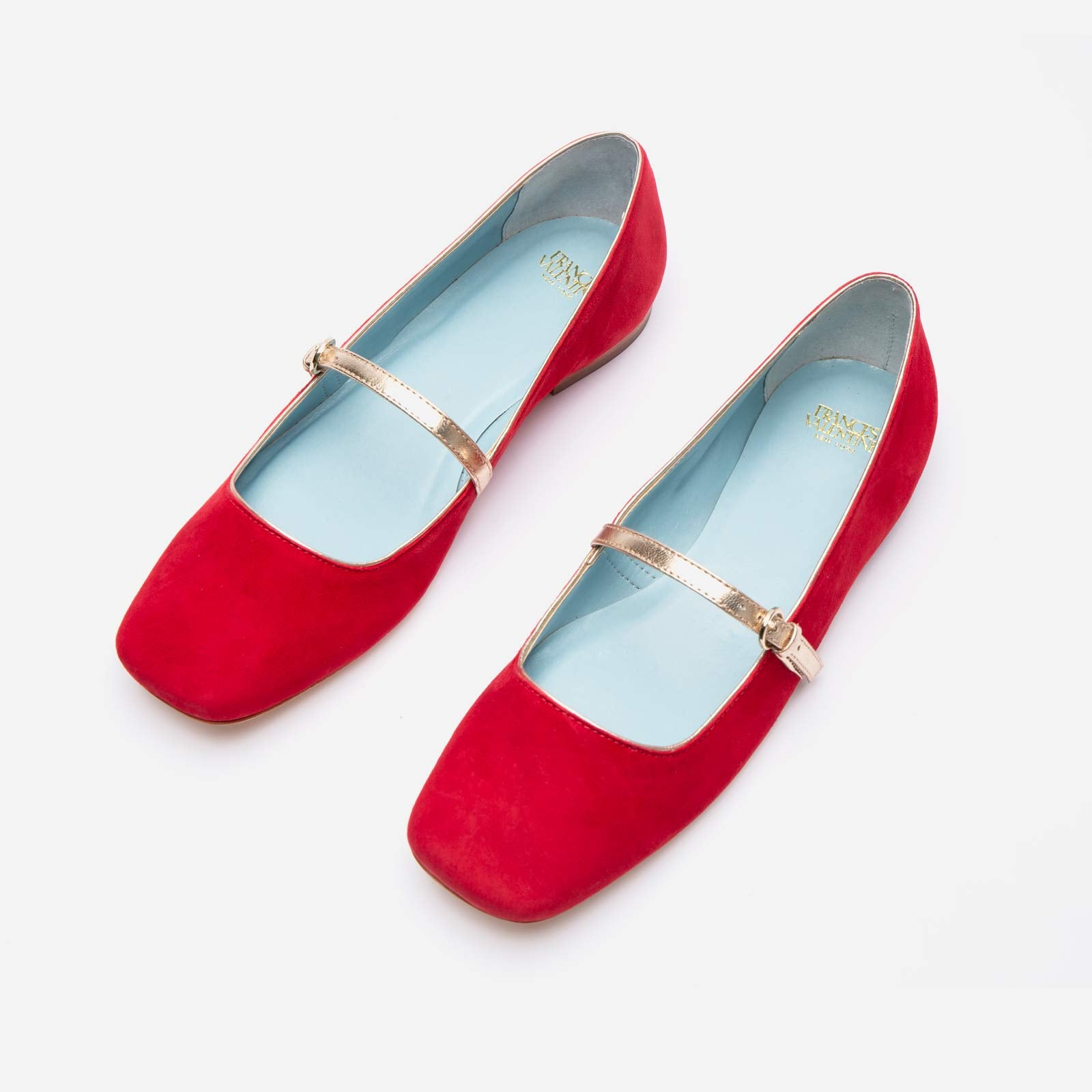 Joan Suede Mary Jane Flat Red