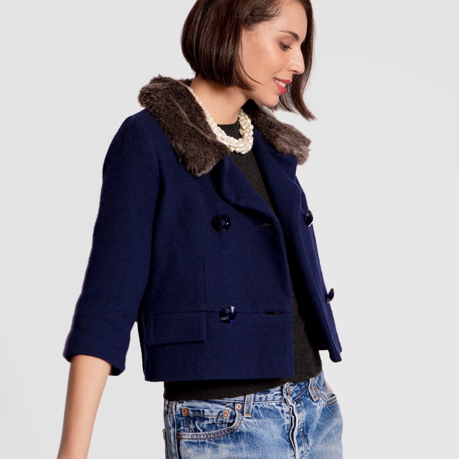 Gigi Lady Jacket Faux Fur Navy - Frances Valentine