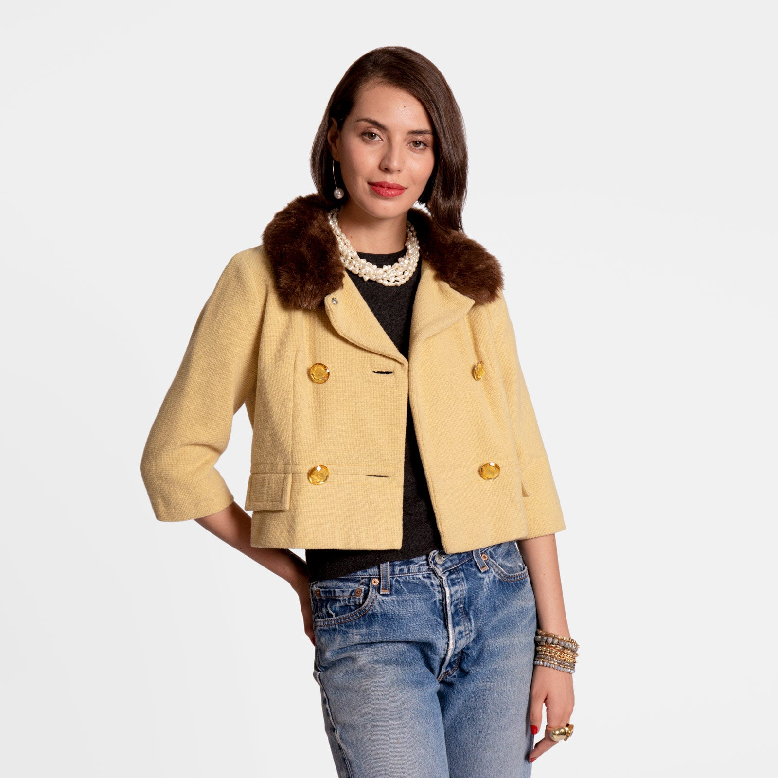 Gigi Lady Jacket Faux Fur Yellow - Frances Valentine