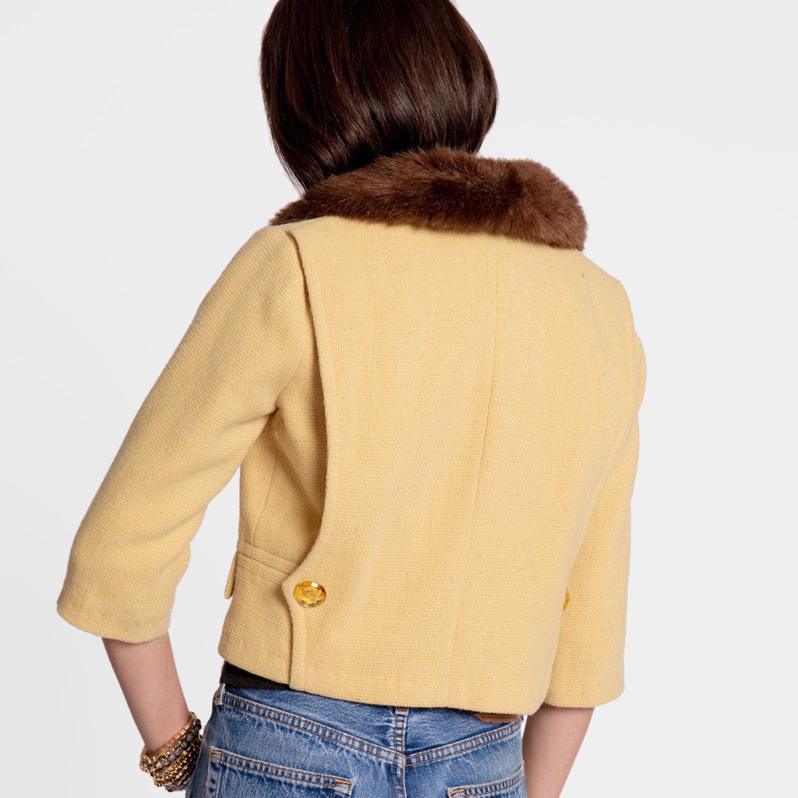 Gigi Lady Jacket Faux Fur Yellow