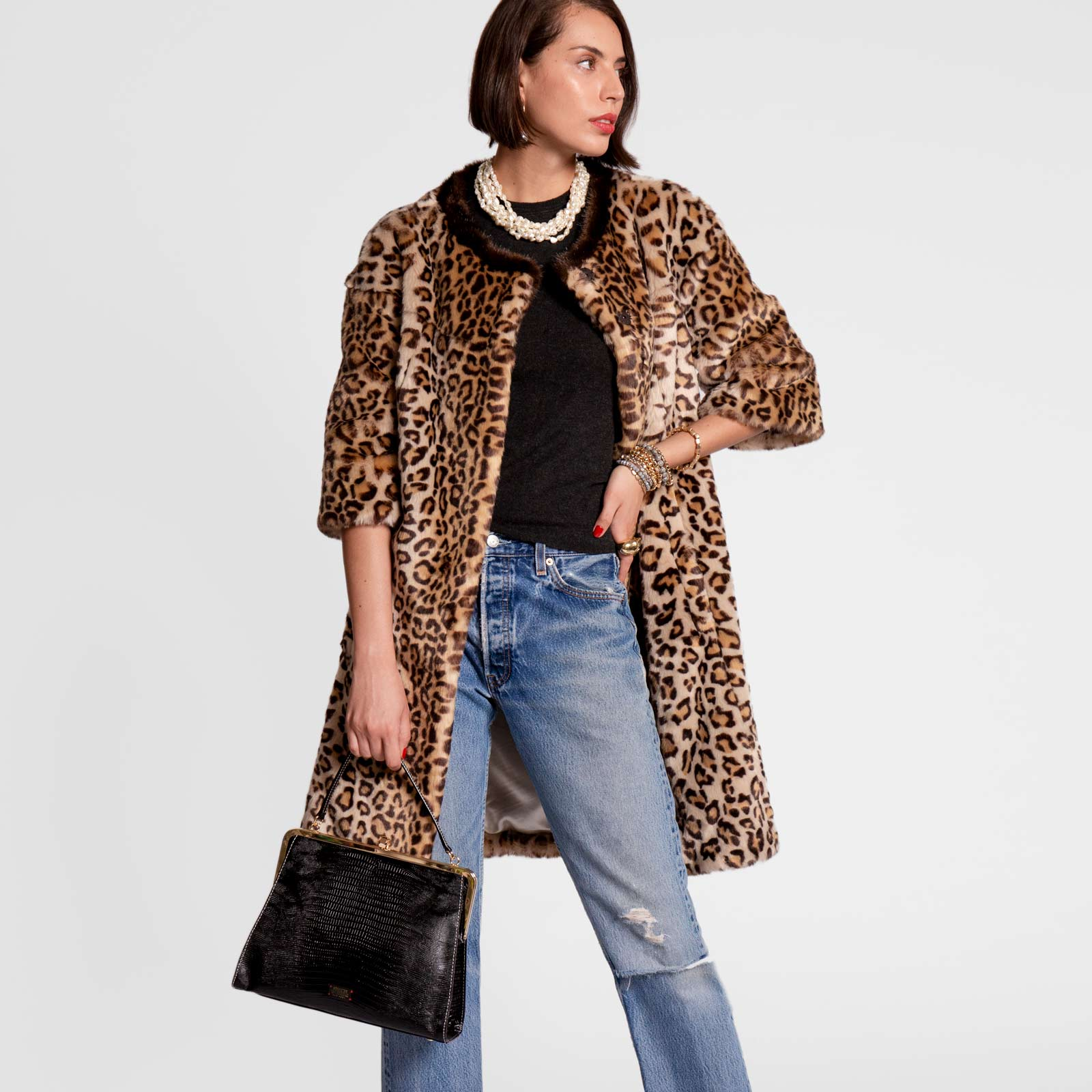Long Faux Fur Jacket Leopard